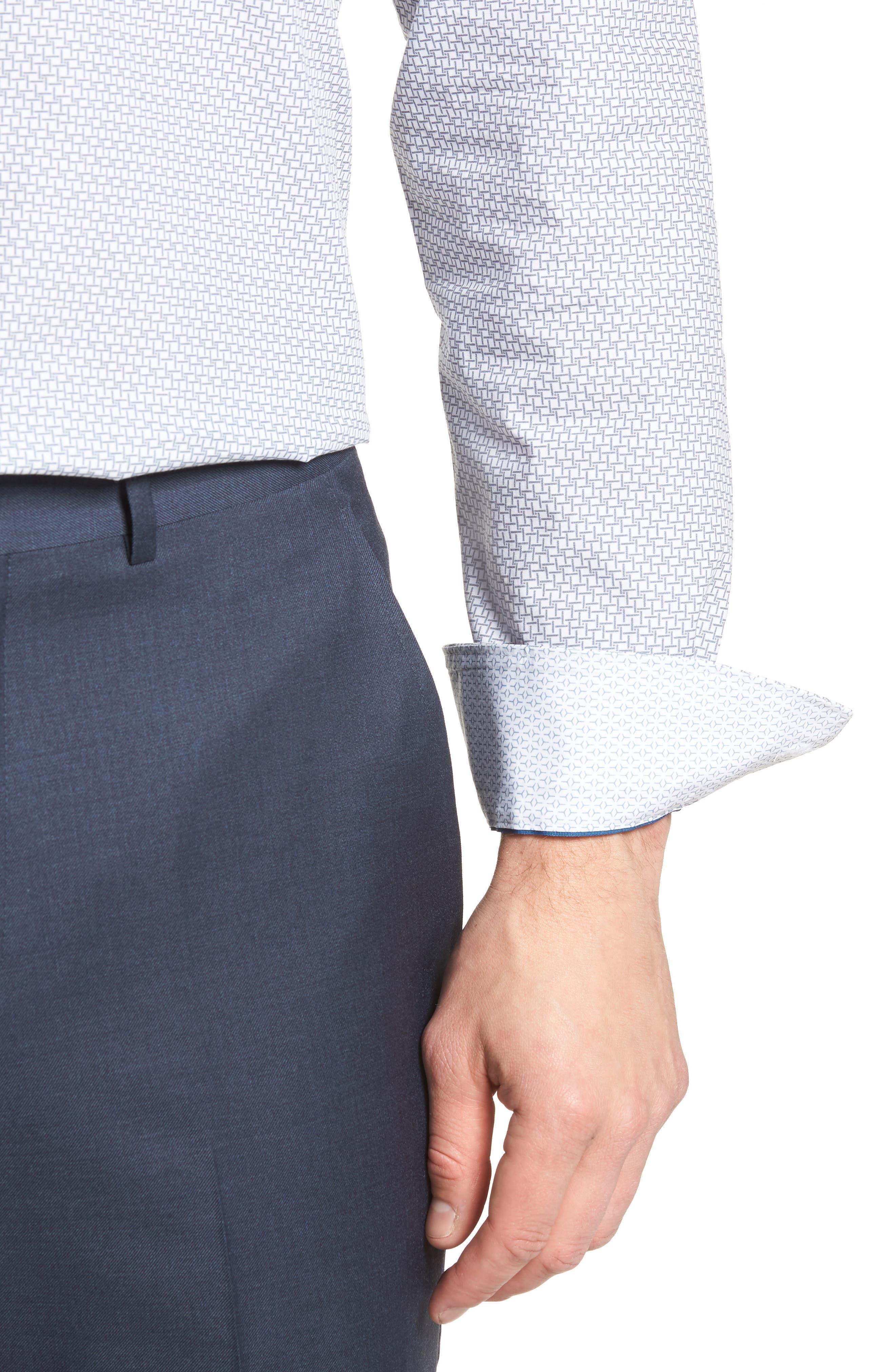 Rosprim Trim Fit Geometric Dress Shirt,                             Alternate thumbnail 2, color,                             GREY