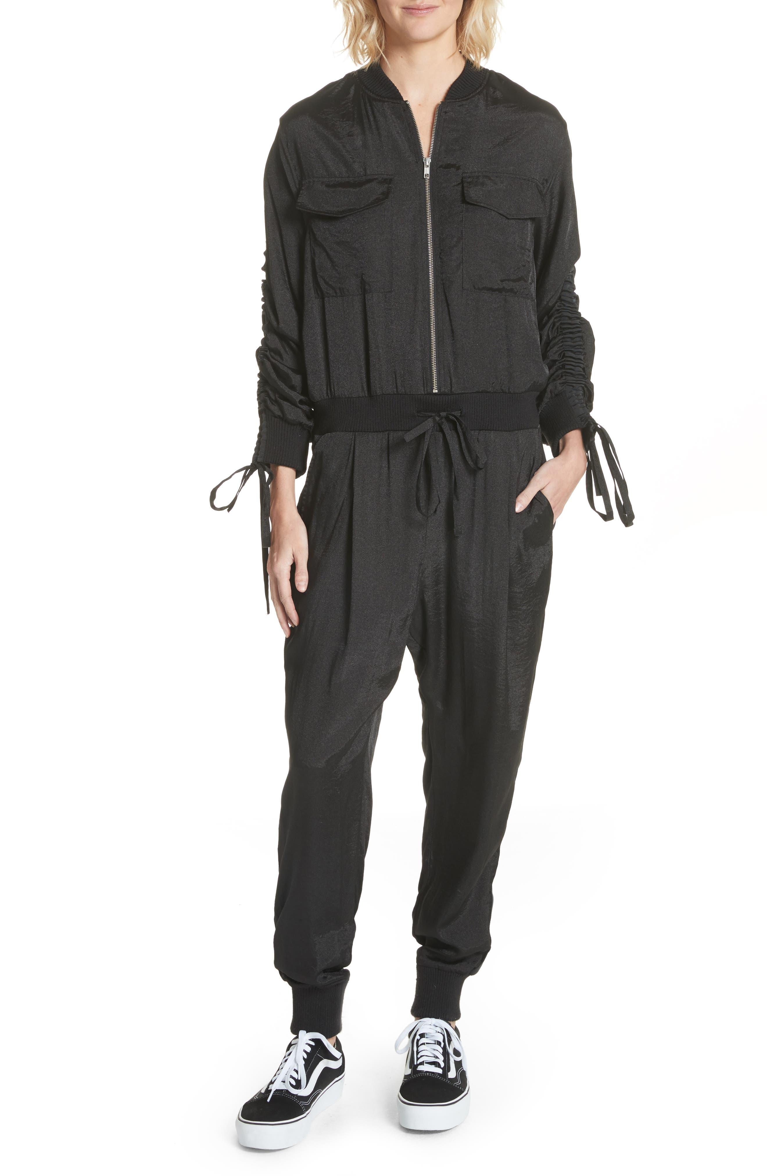 Drawstring Sleeve Jumpsuit,                         Main,                         color,