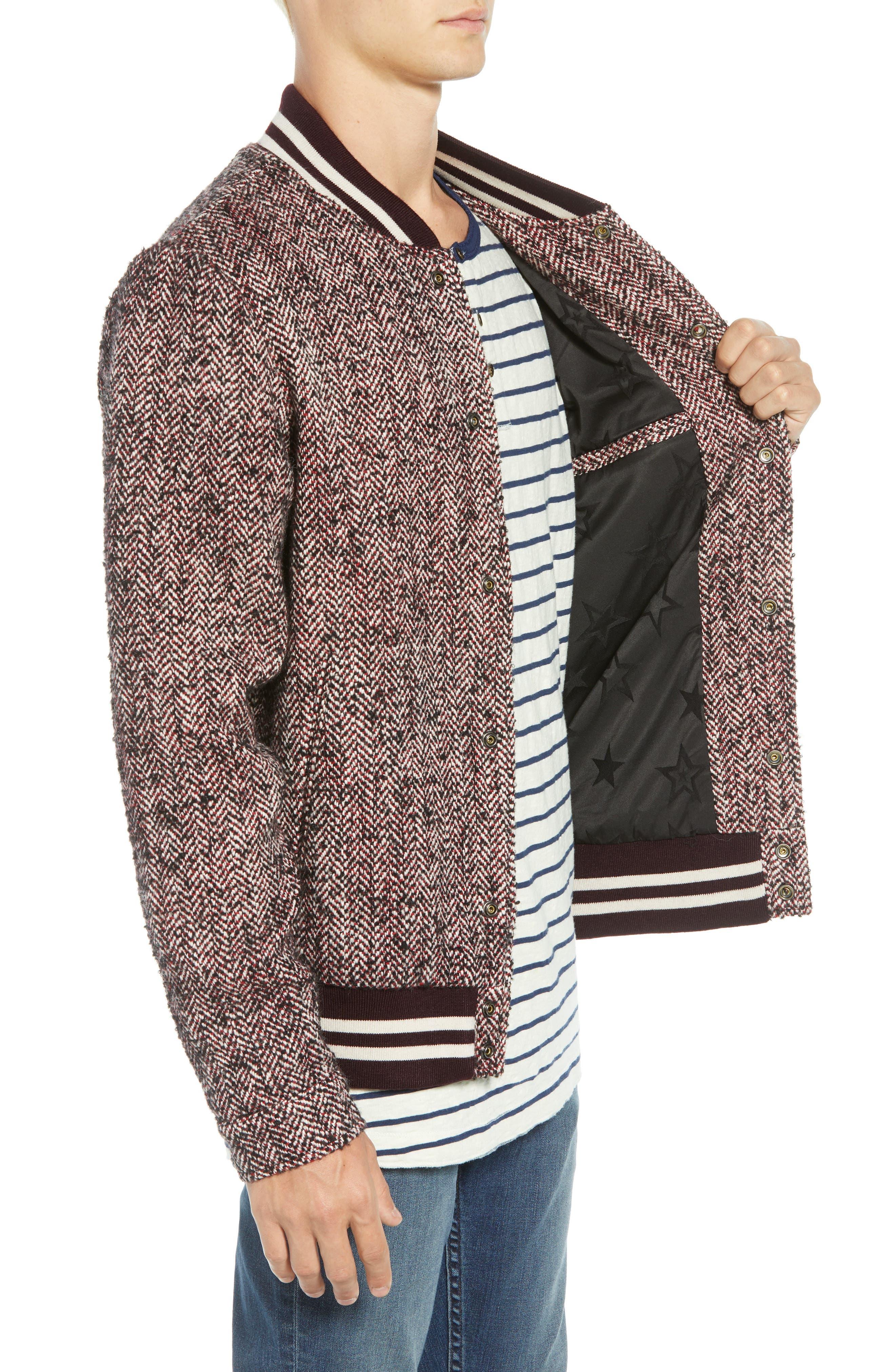 Herringbone Varsity Jacket,                             Alternate thumbnail 3, color,                             COMBO A