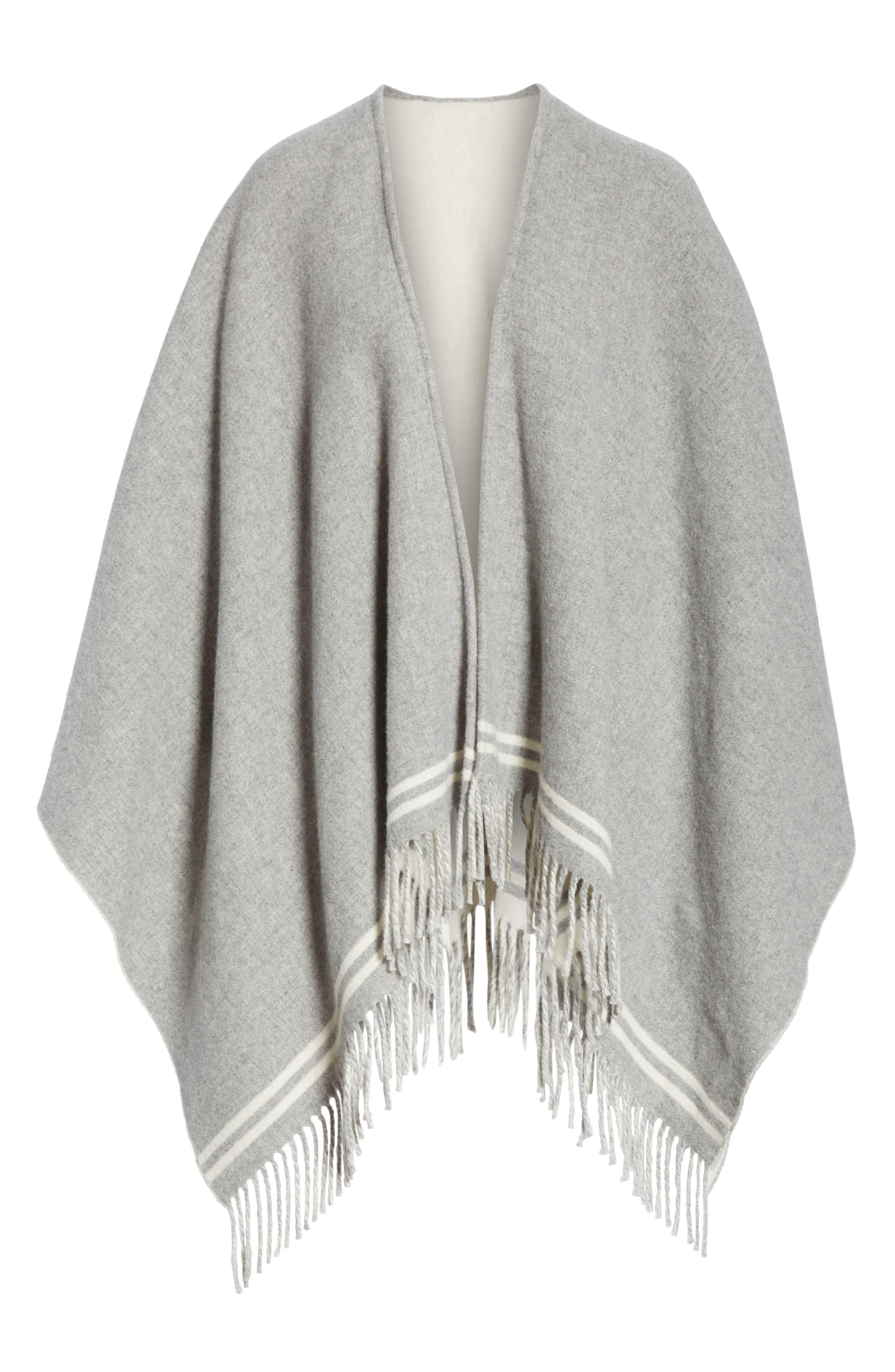 Stripe Merino Wool Poncho,                             Alternate thumbnail 6, color,                             GREY MULTI