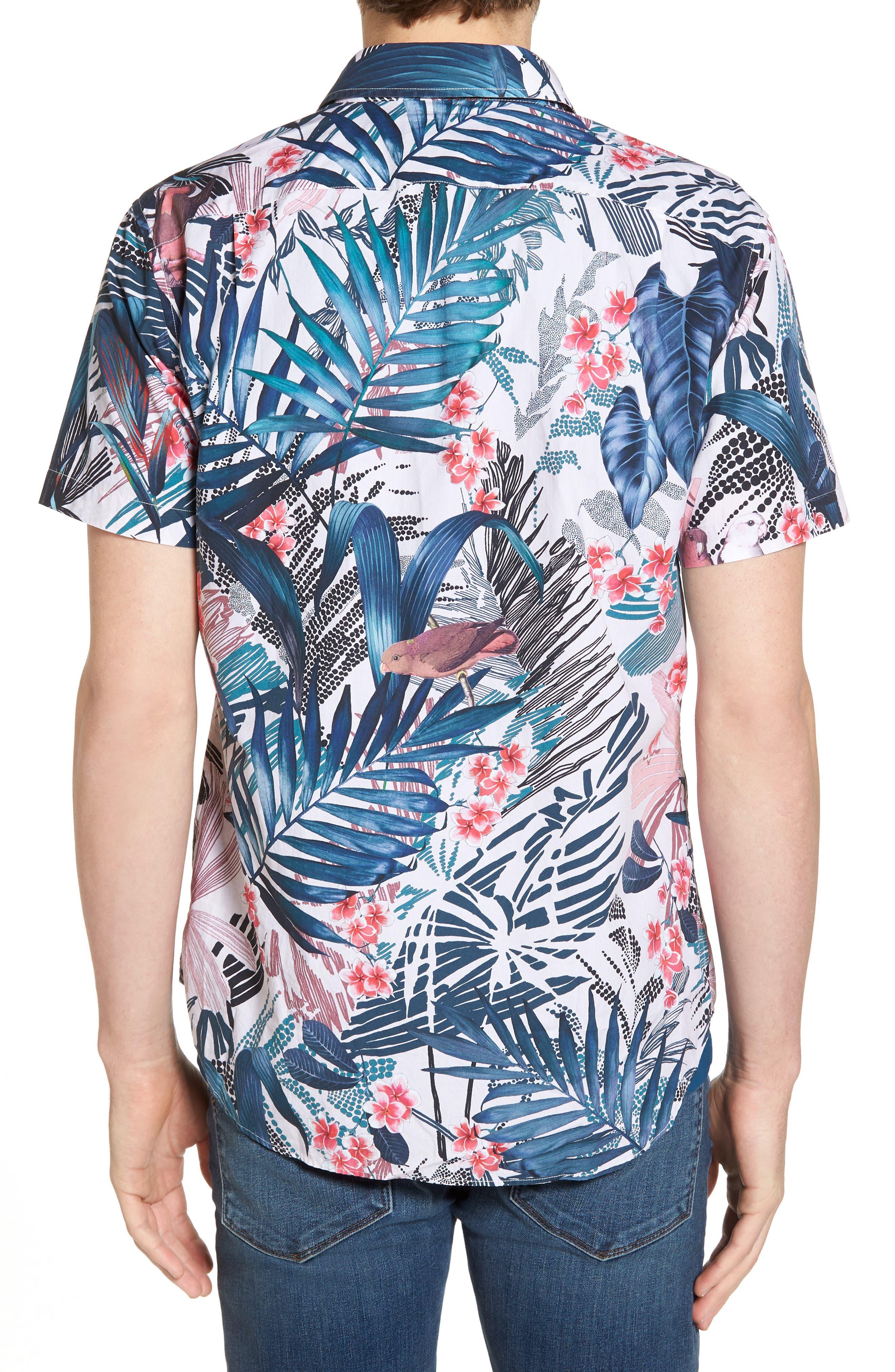 Premium Slim Fit Floral Print Sport Shirt,                             Alternate thumbnail 2, color,                             400