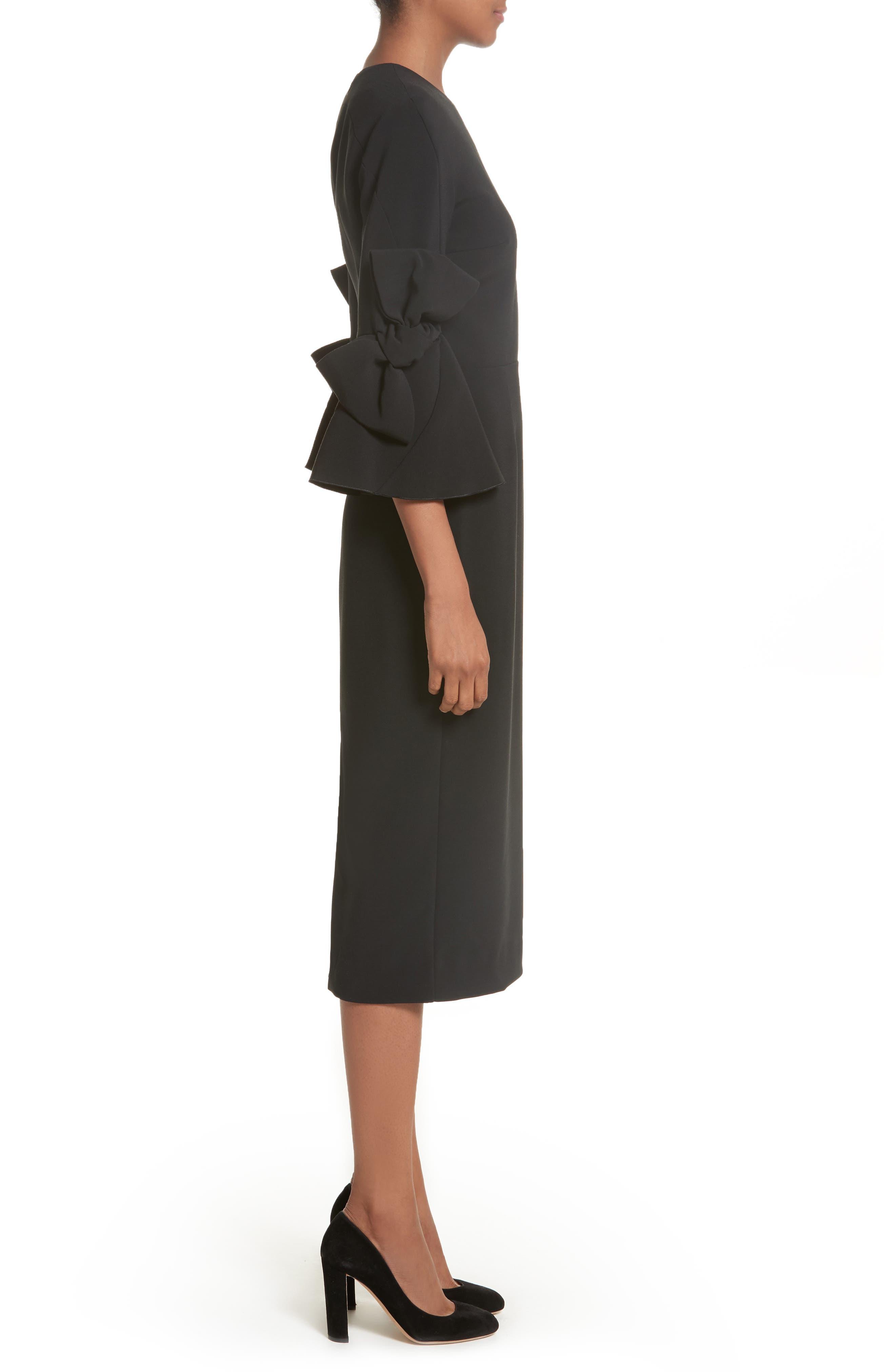 Lavete Stretch Crepe Midi Dress,                             Alternate thumbnail 3, color,                             BLACK