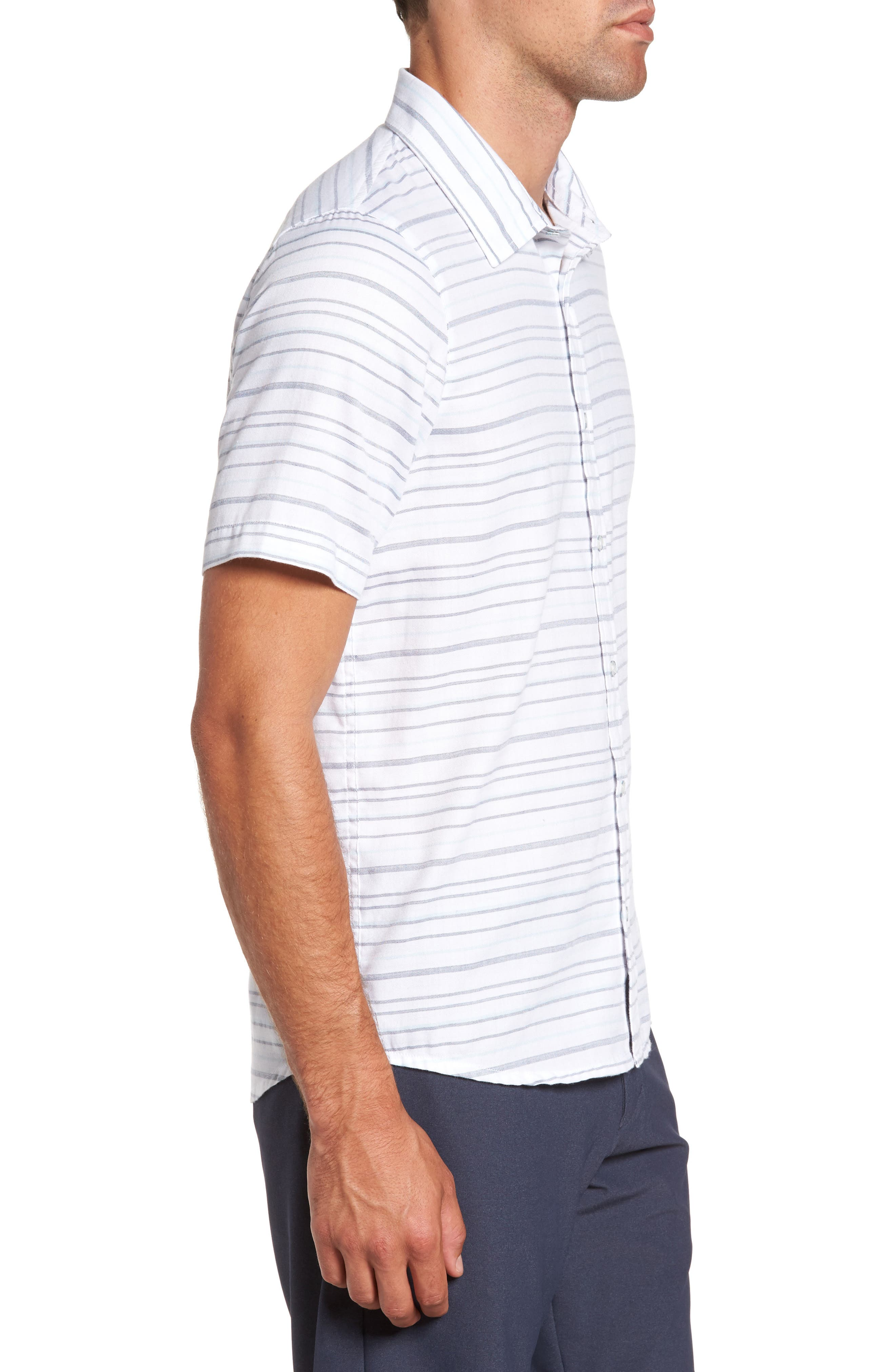 Long Board Stripe Sport Shirt,                             Alternate thumbnail 3, color,                             100