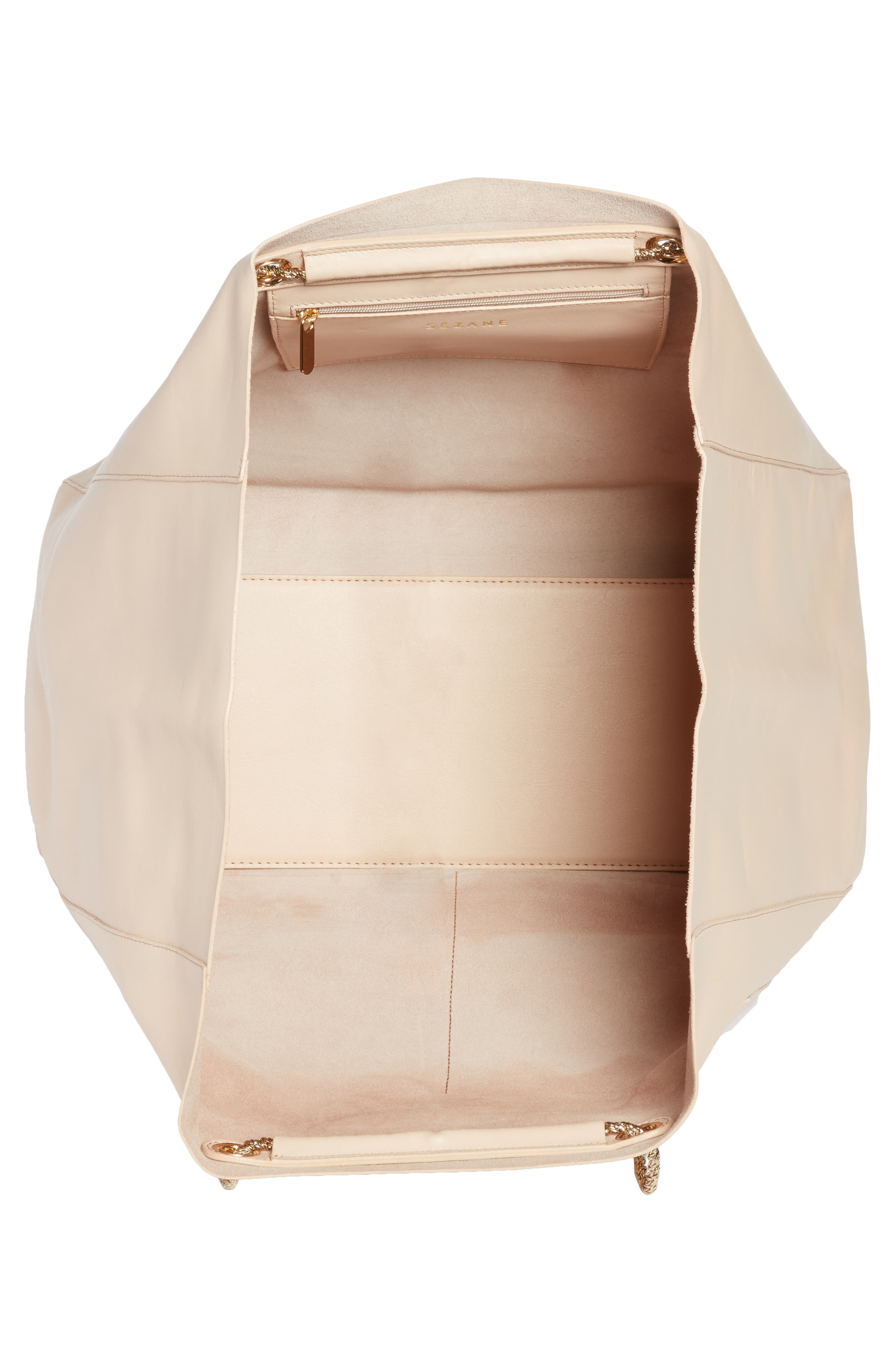Gaby Leather Tote,                             Alternate thumbnail 4, color,                             NUDE