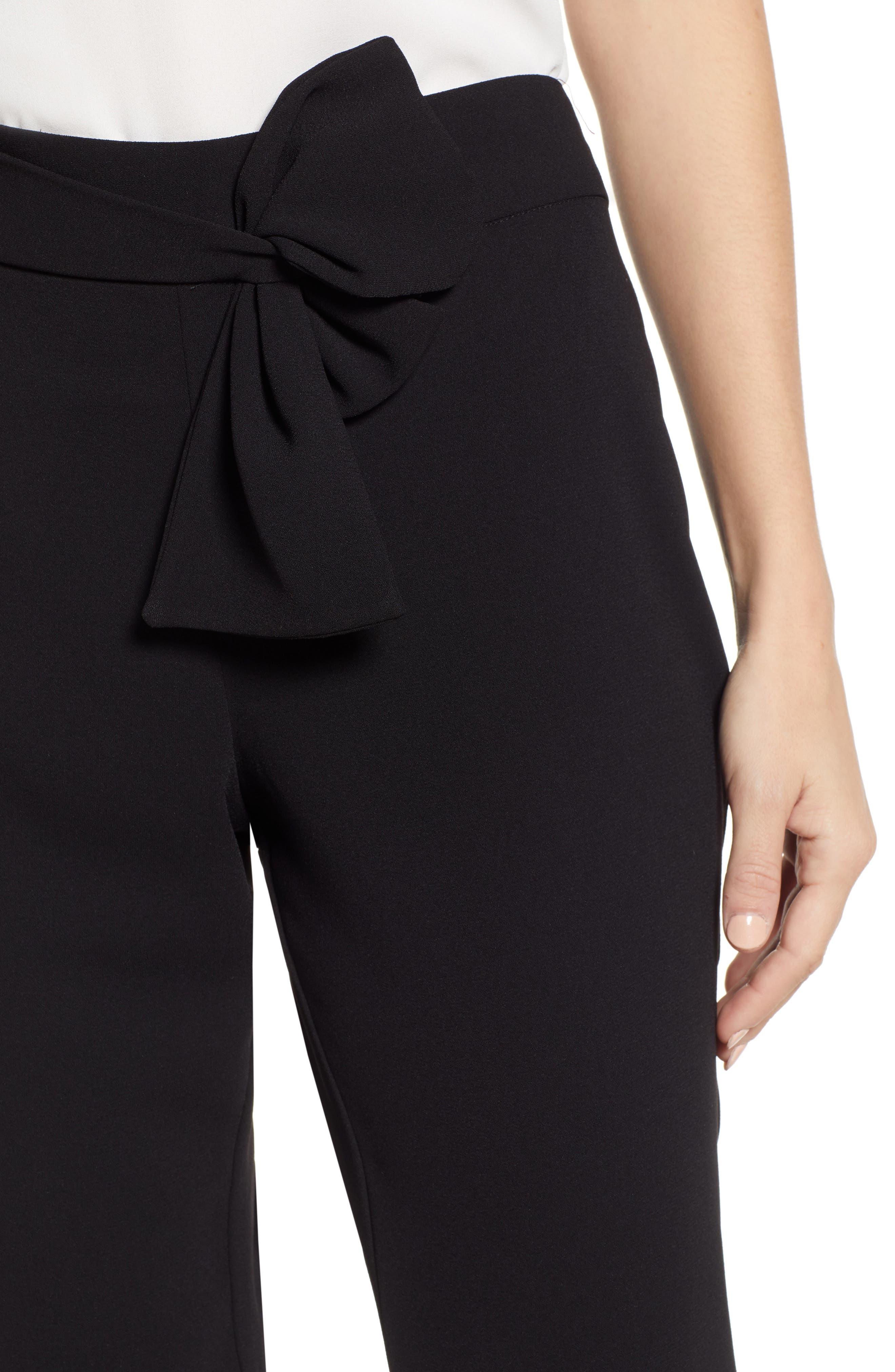 Tie Waist Moss Crepe Pants,                             Alternate thumbnail 4, color,                             RICH BLACK