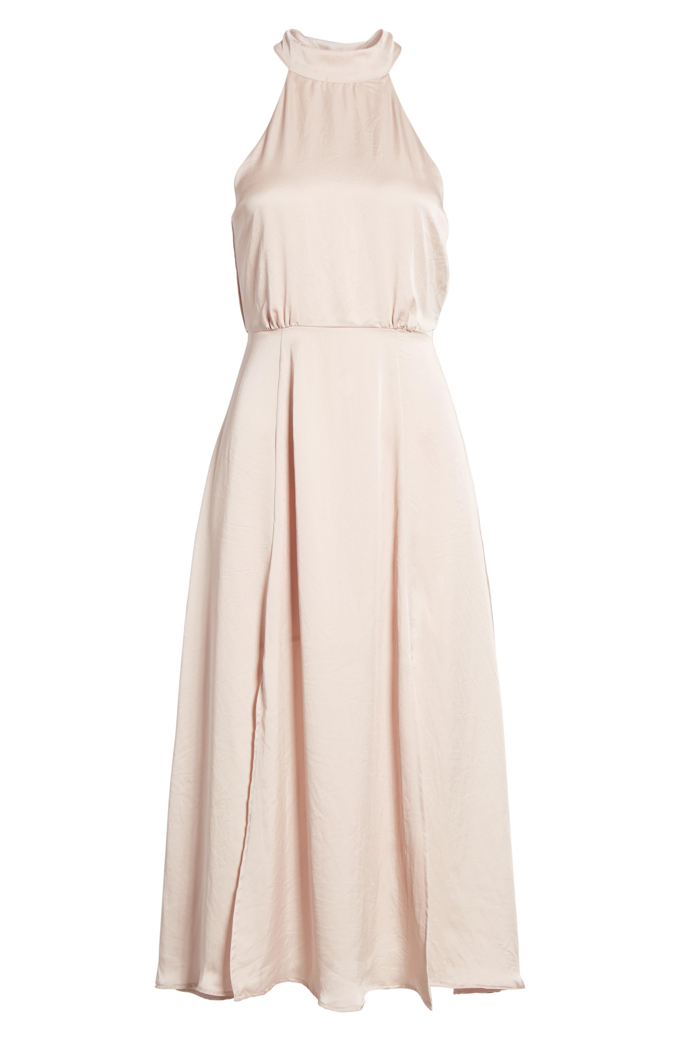 Satin Midi Dress,                             Alternate thumbnail 6, color,                             663