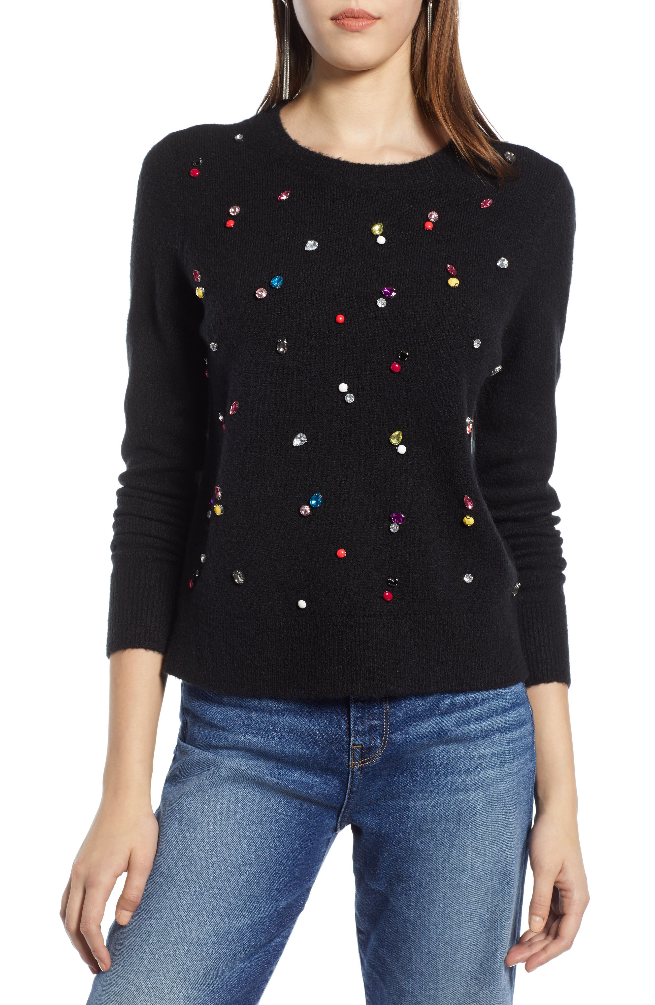 Embellished Sweater,                             Main thumbnail 1, color,                             001