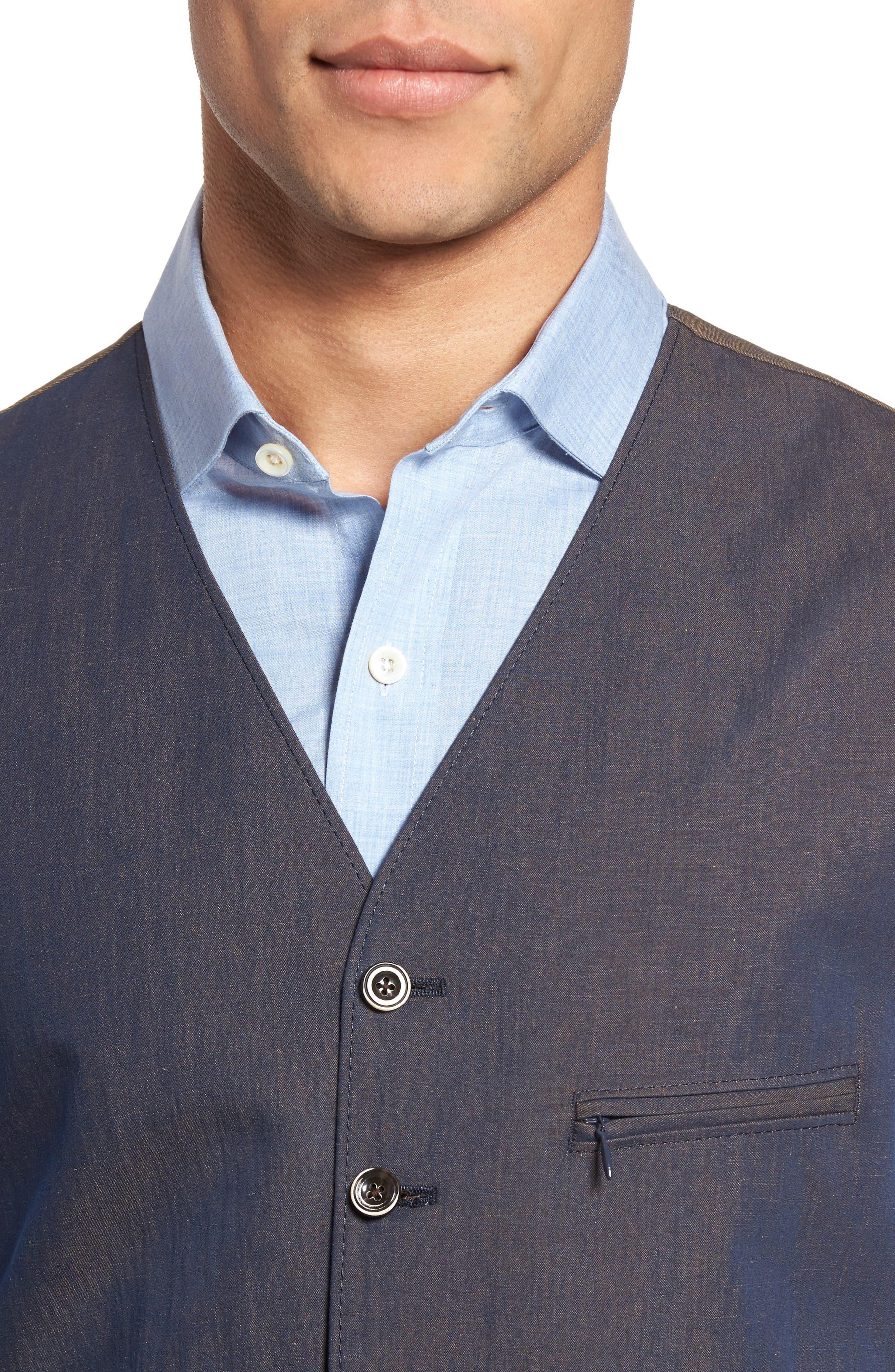 Hootie Classic Fit Linen & Cotton Vest,                             Alternate thumbnail 4, color,
