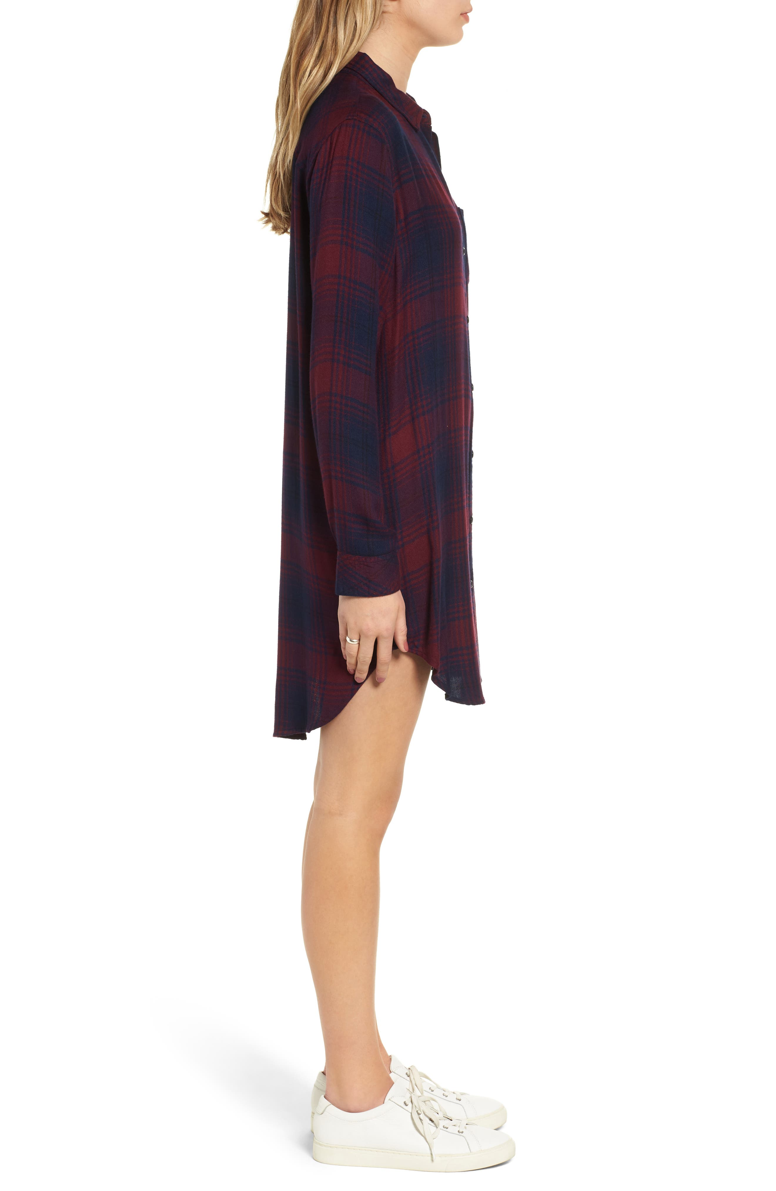 Bianca Flannel Shirtdress,                             Alternate thumbnail 4, color,                             CURRANT NAVY