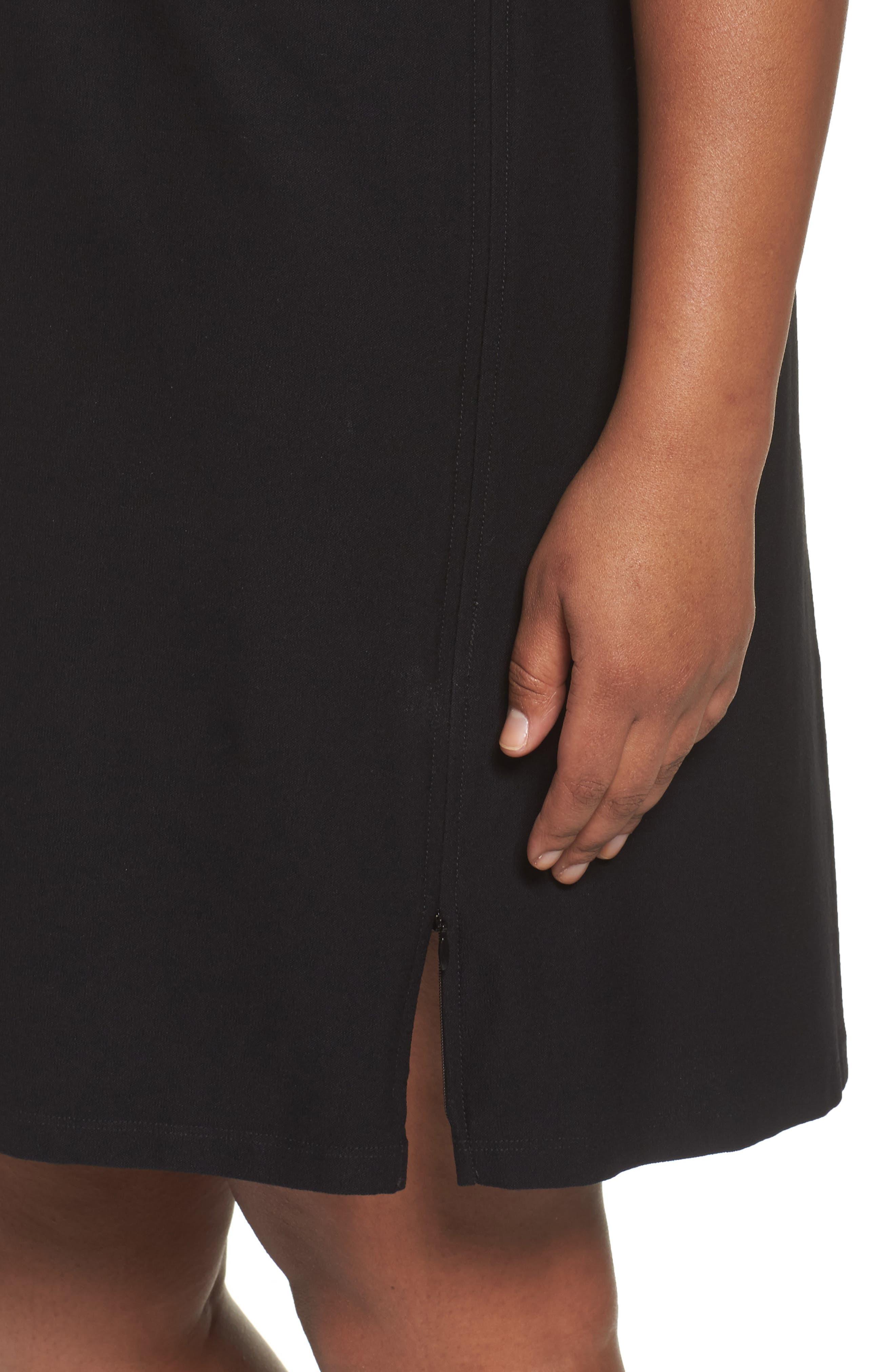 Side Zip Knit Shift Dress,                             Alternate thumbnail 4, color,                             001