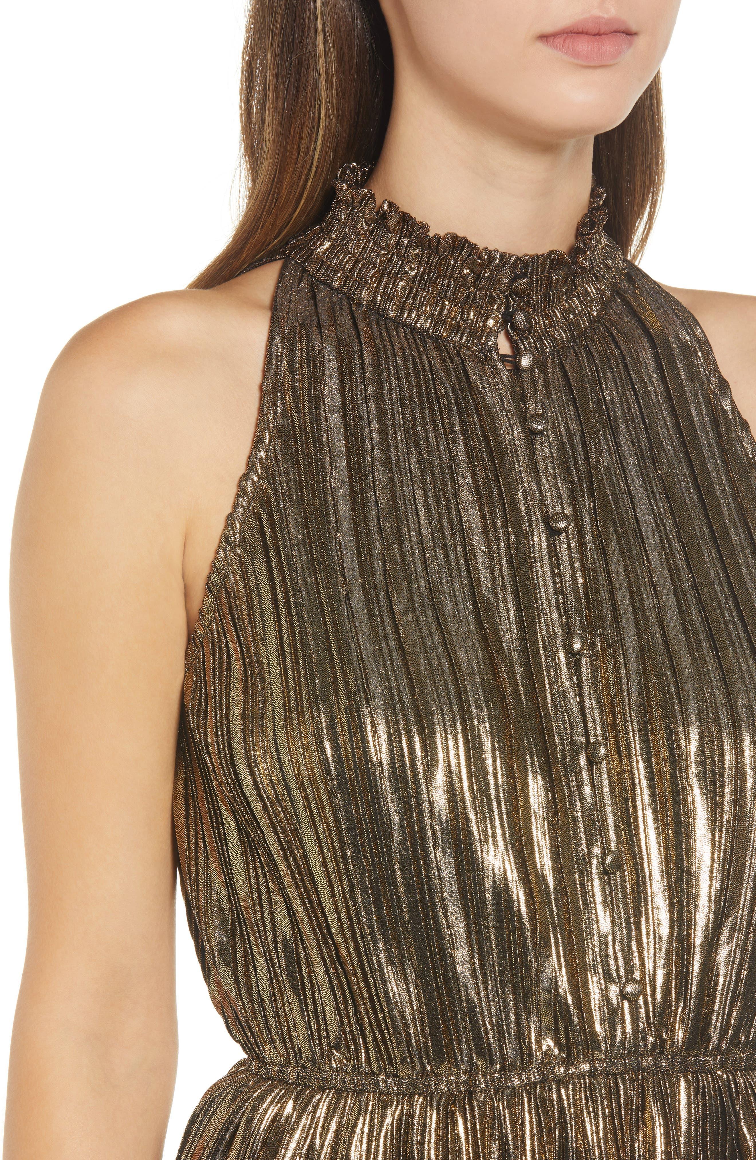 Metallic Plissé Peplum Dress,                             Alternate thumbnail 4, color,                             BRONZE