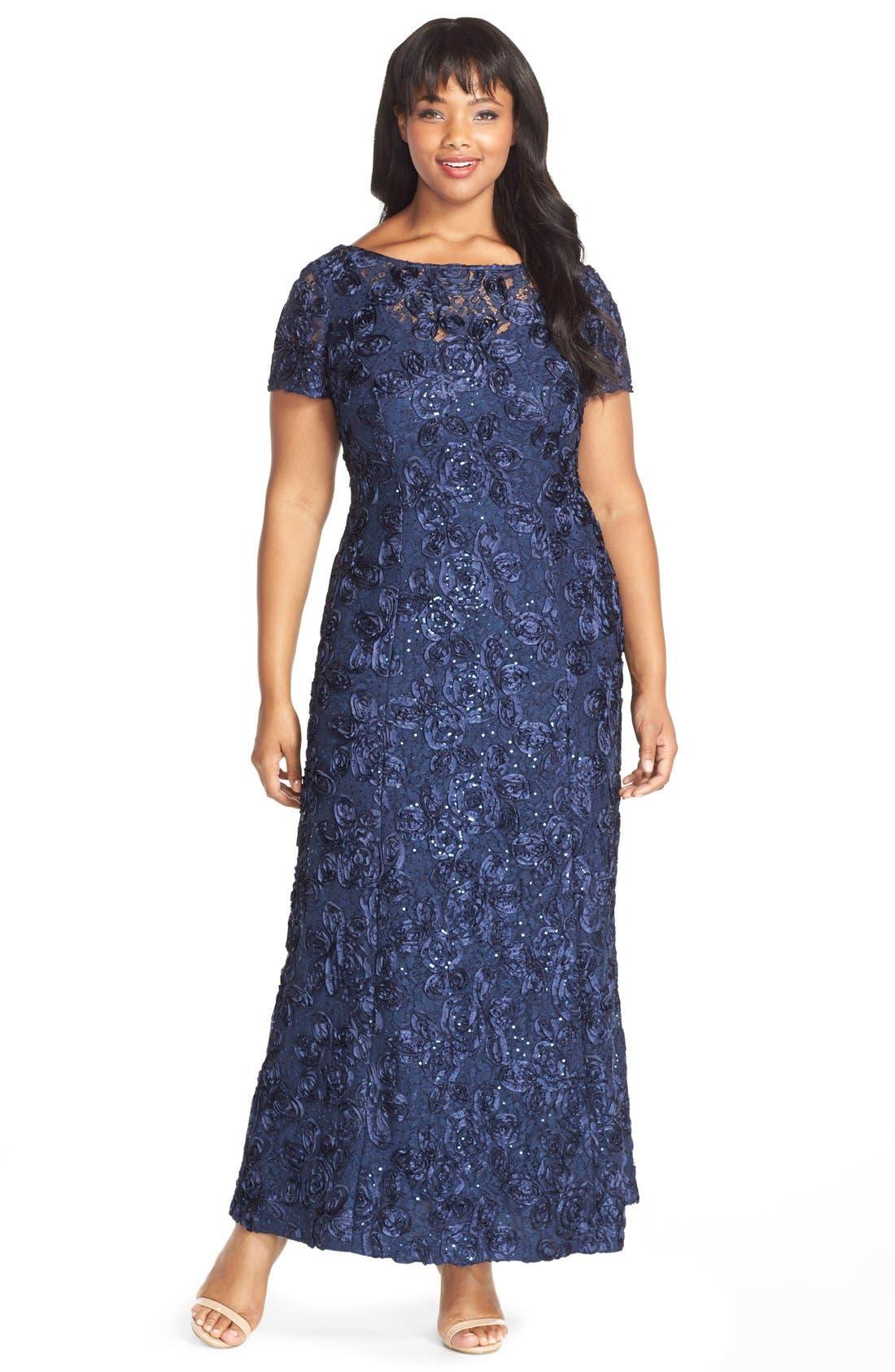 Rosette Lace Short Sleeve A-Line Gown,                             Main thumbnail 1, color,                             NAVY
