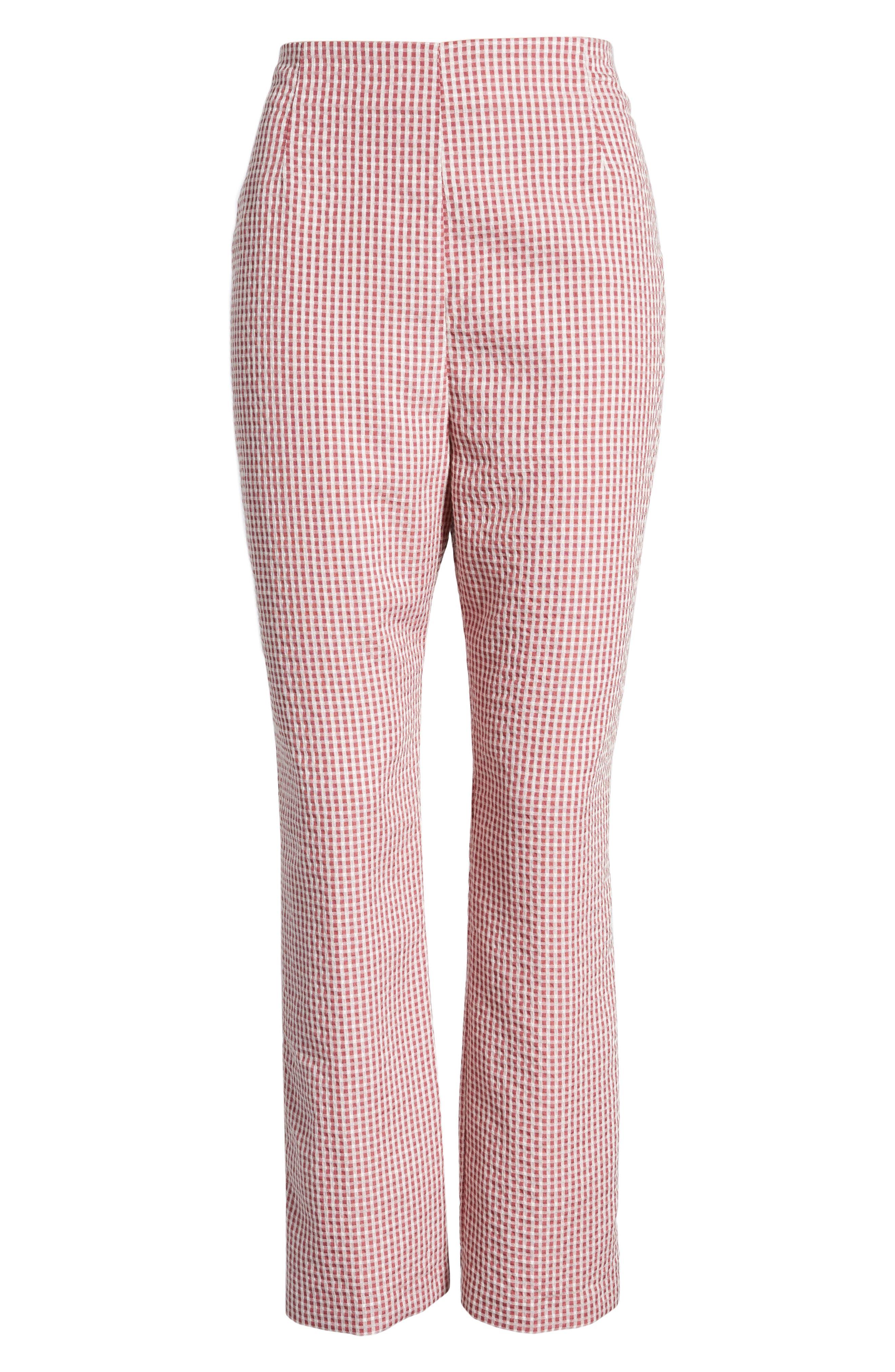 Pisa High Waist Crop Pants,                             Alternate thumbnail 7, color,                             RED GINGHAM