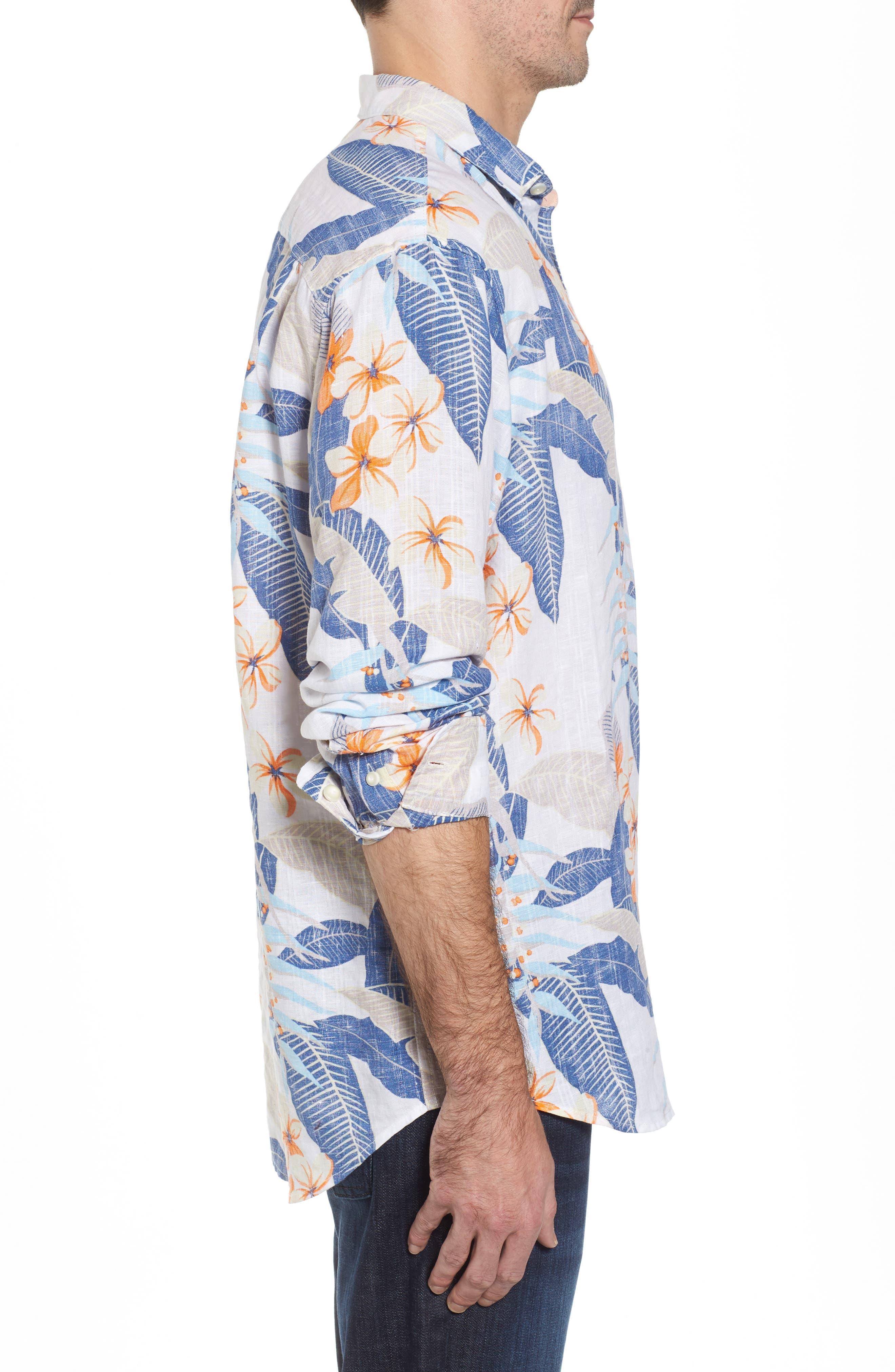 Liviea Leaves Linen Blend Camp Shirt,                             Alternate thumbnail 3, color,