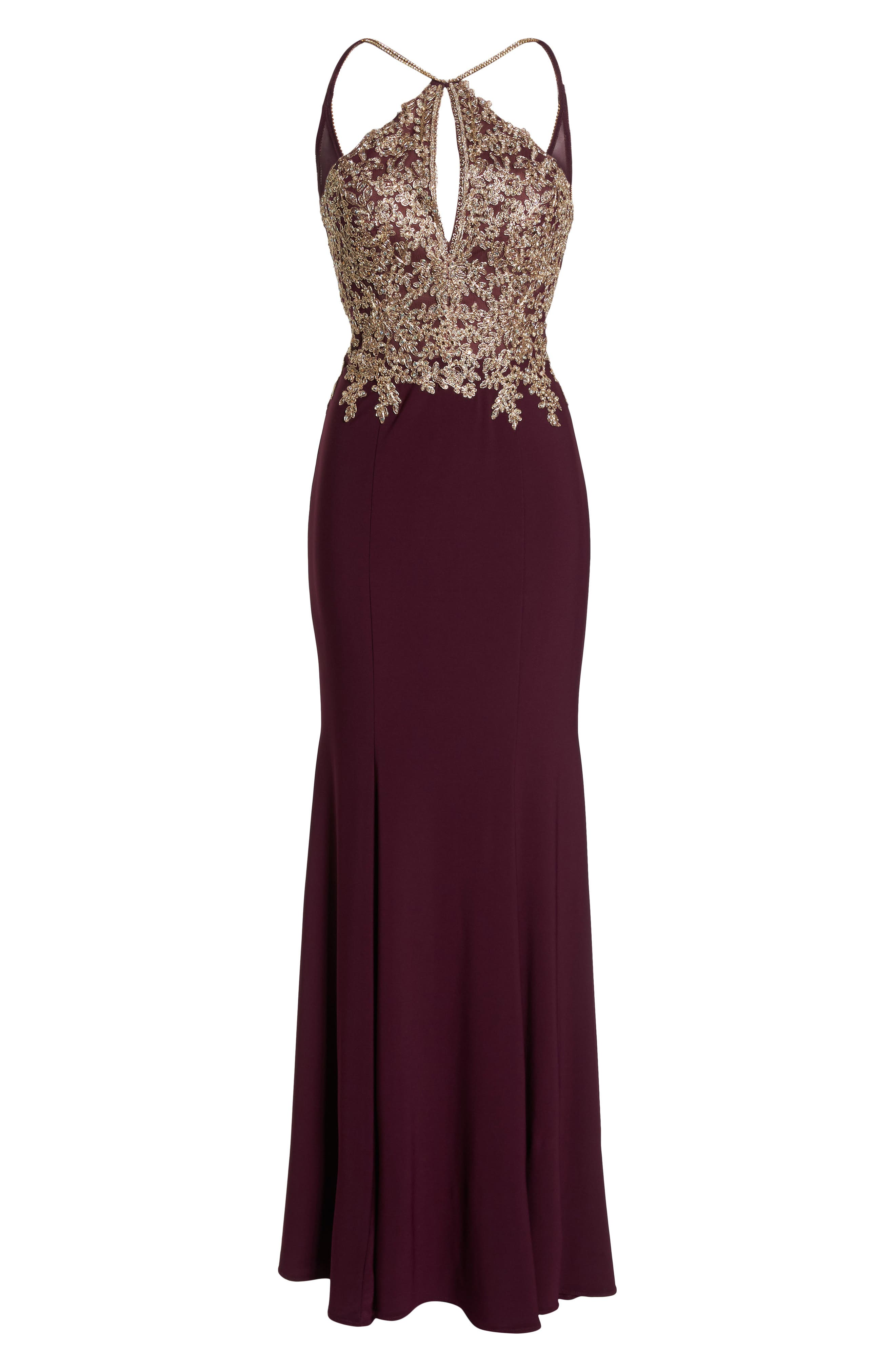 Gold Embroidery Halter Neck Gown,                             Alternate thumbnail 6, color,                             WINE/ GOLD