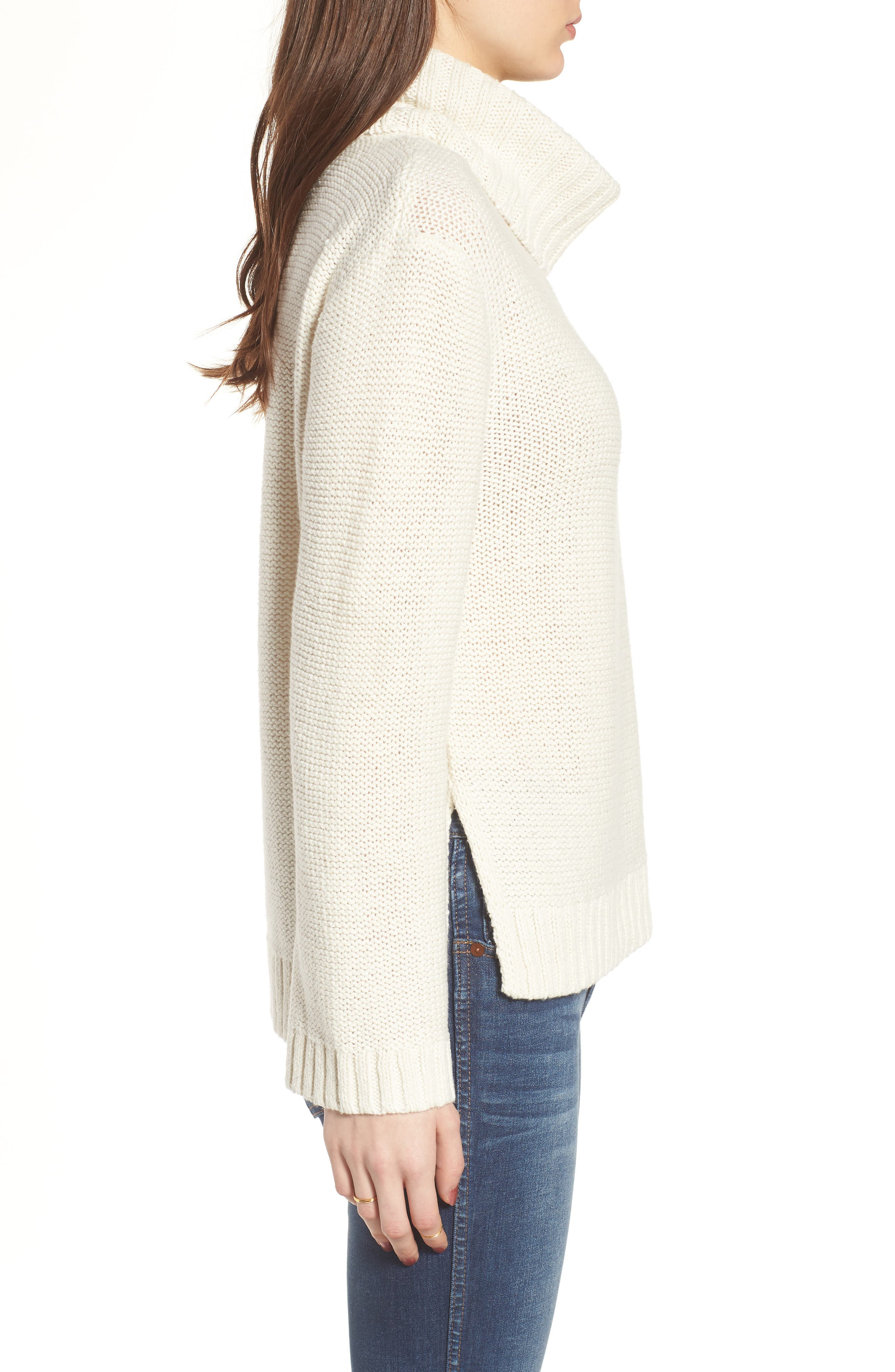 Flecked Turtleneck Sweater,                             Alternate thumbnail 3, color,                             100