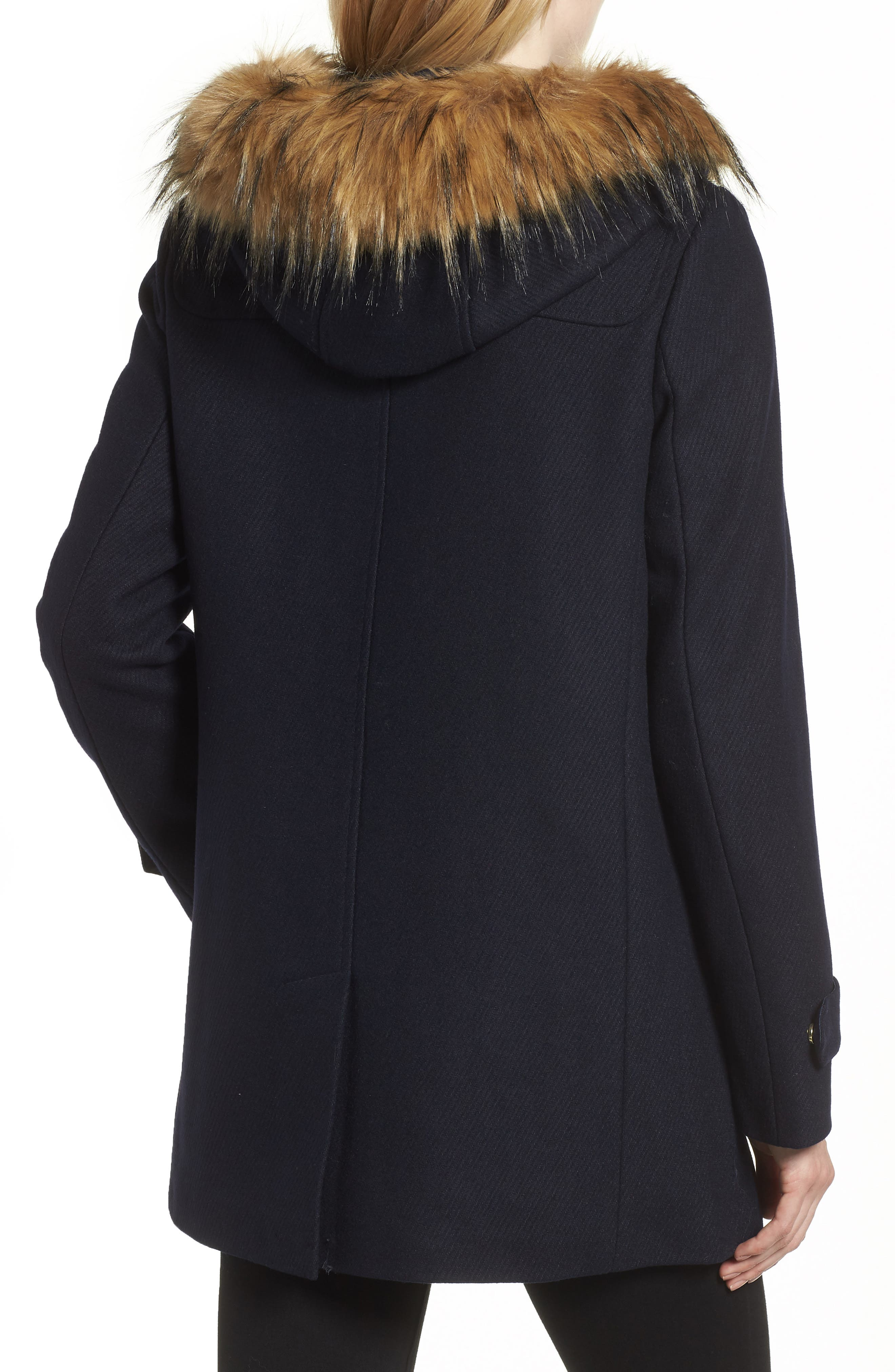 Cole Haan Hooded Duffle Coat with Faux Fur Trim,                             Alternate thumbnail 2, color,                             MIDNIGHT