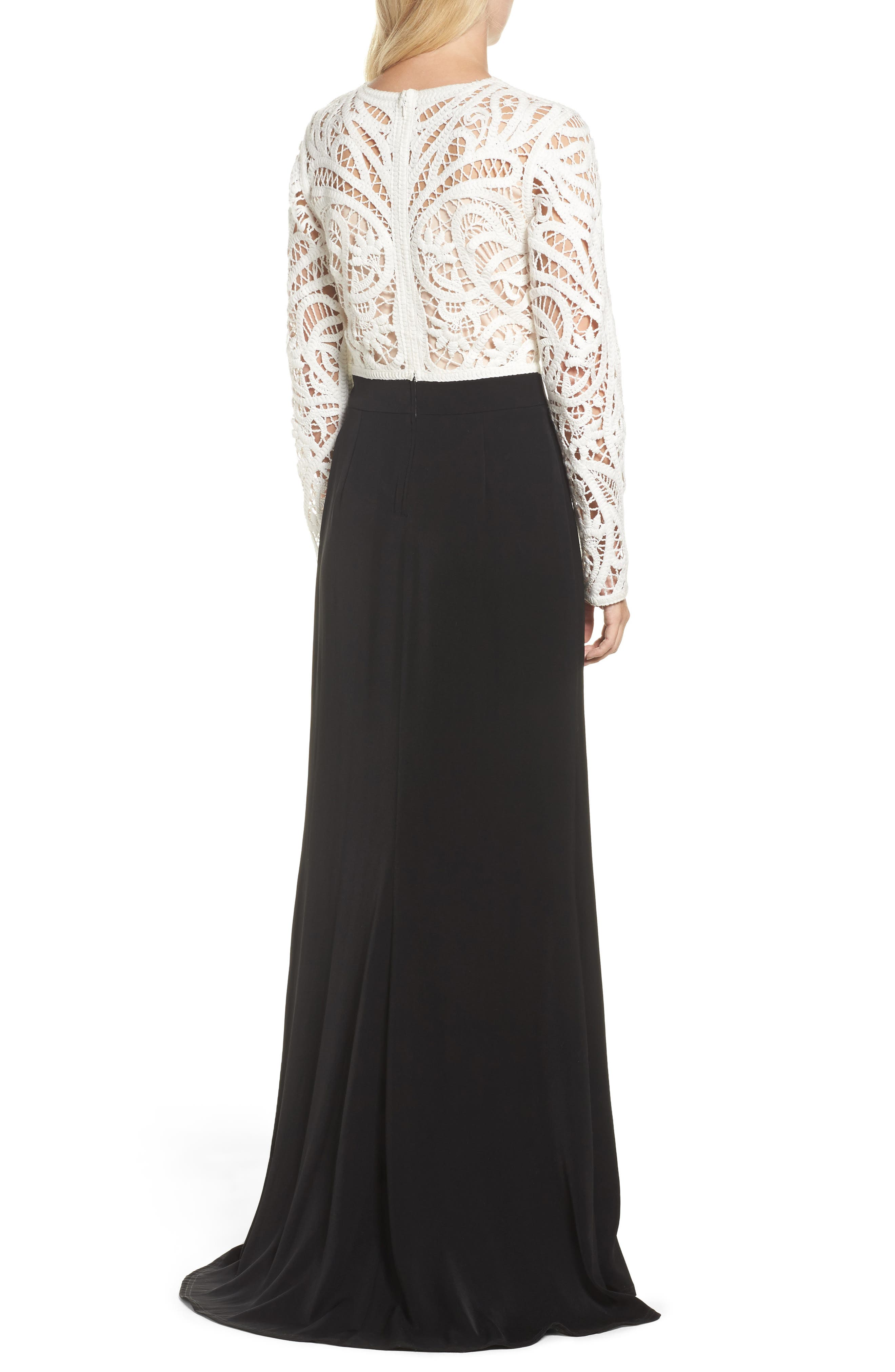 Crochet Lace & Crepe Gown,                             Alternate thumbnail 2, color,                             IVORY/ BLACK
