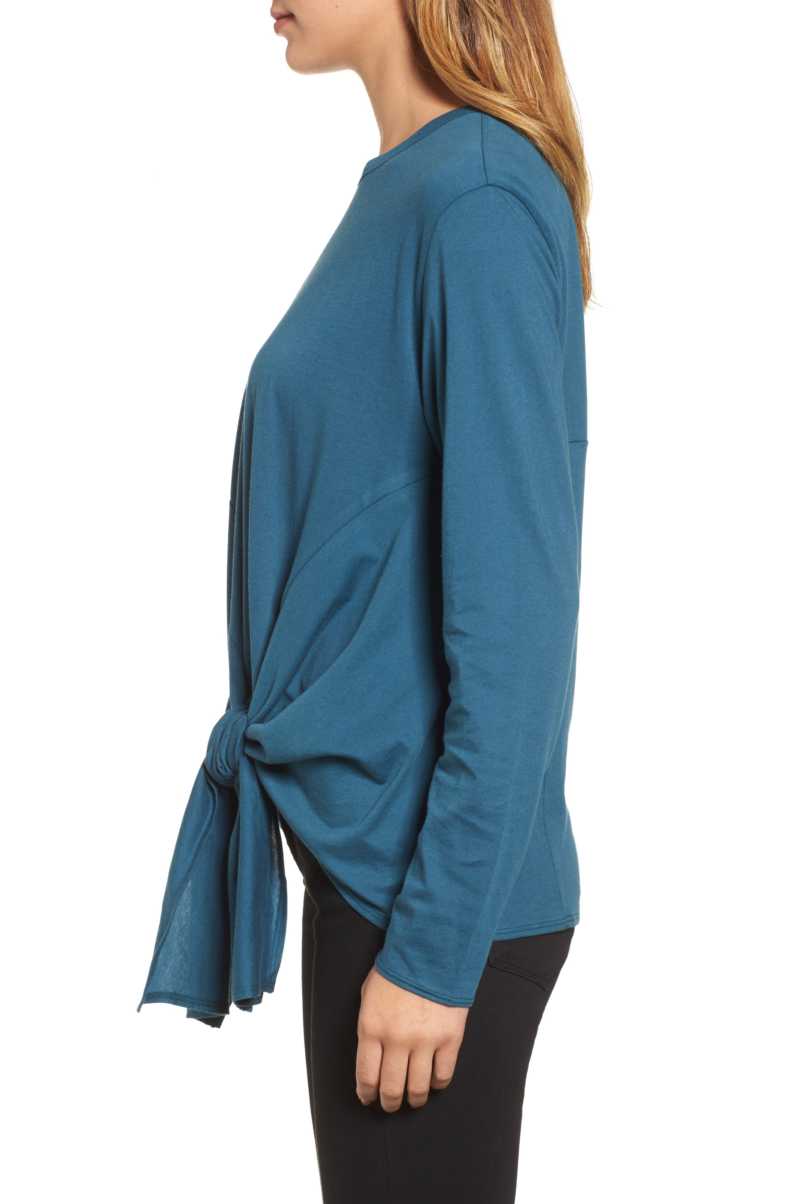 Long Sleeve Side Tie Tee,                             Alternate thumbnail 17, color,