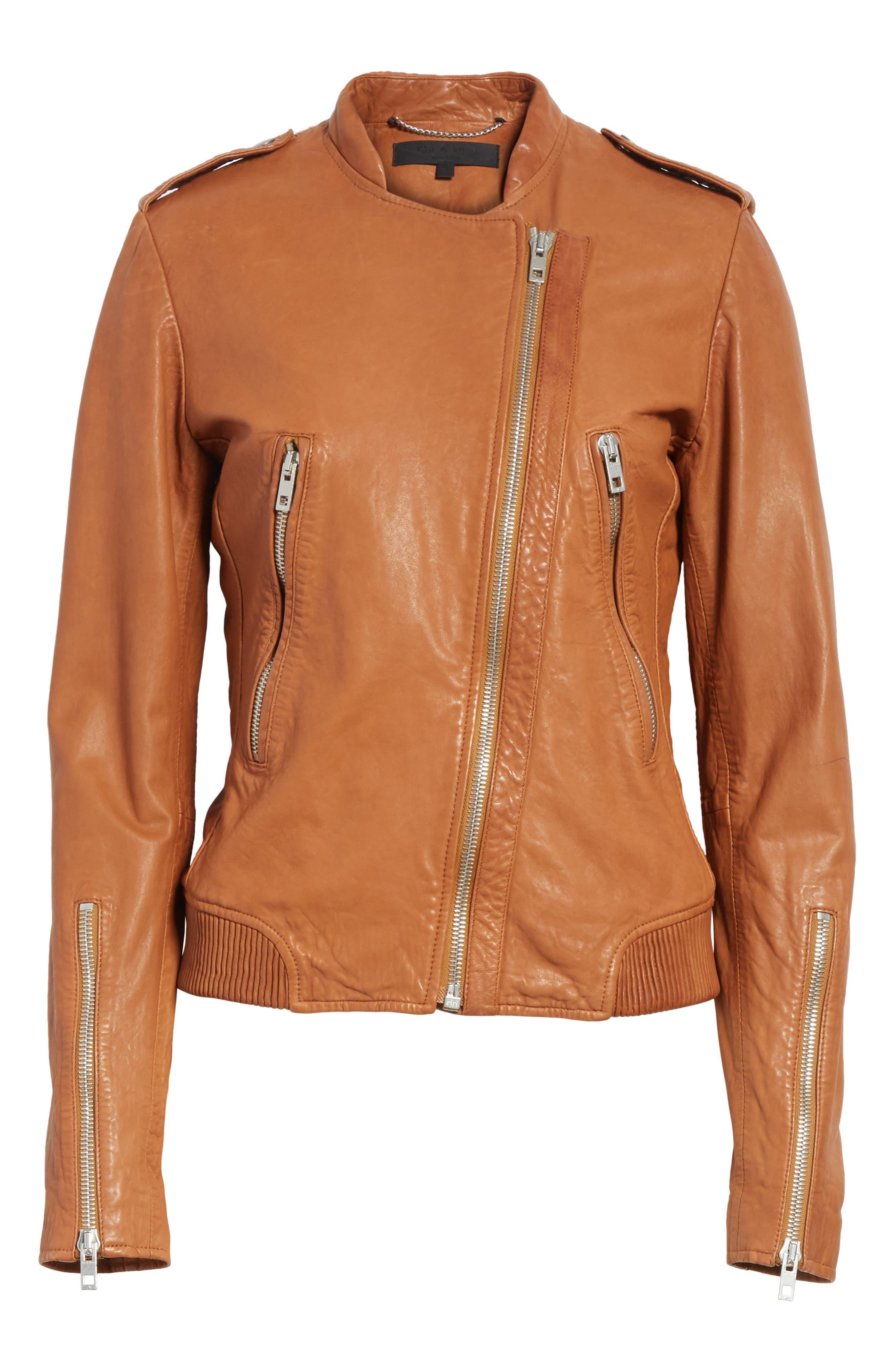 Lyon Leather Jacket,                             Alternate thumbnail 5, color,                             200