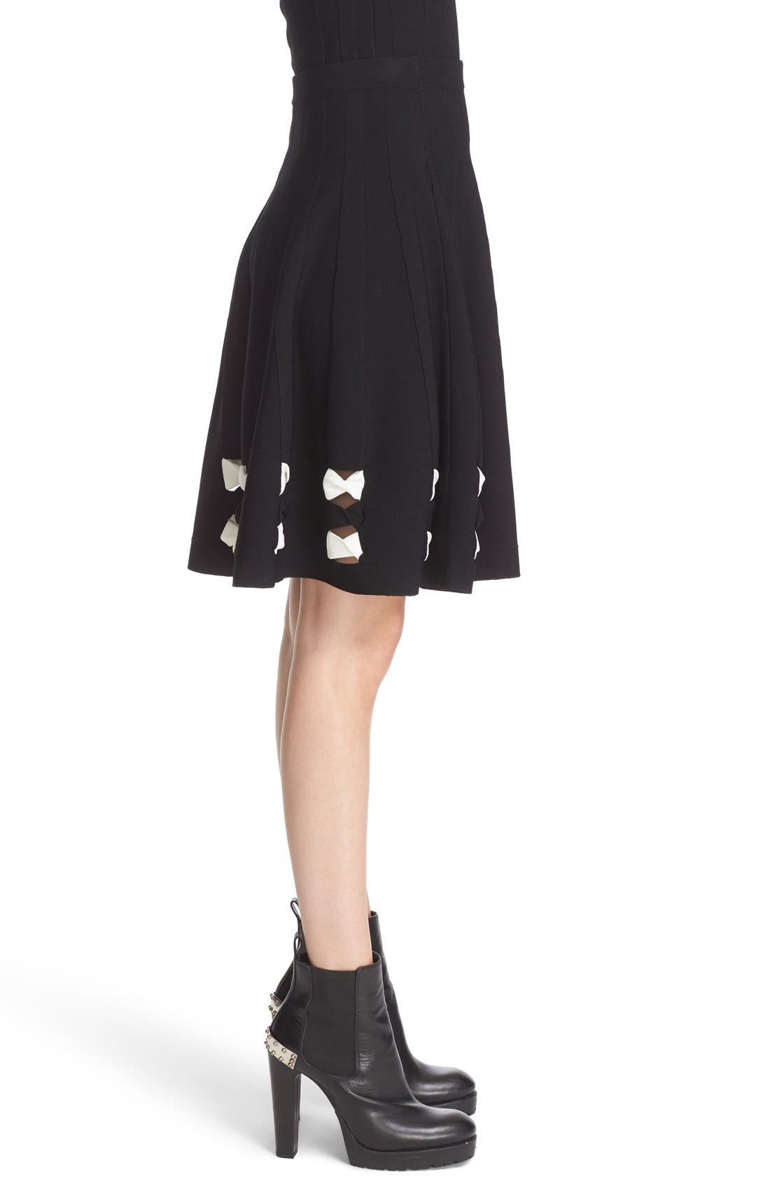 Twisted Cutout Skirt,                             Alternate thumbnail 6, color,                             001