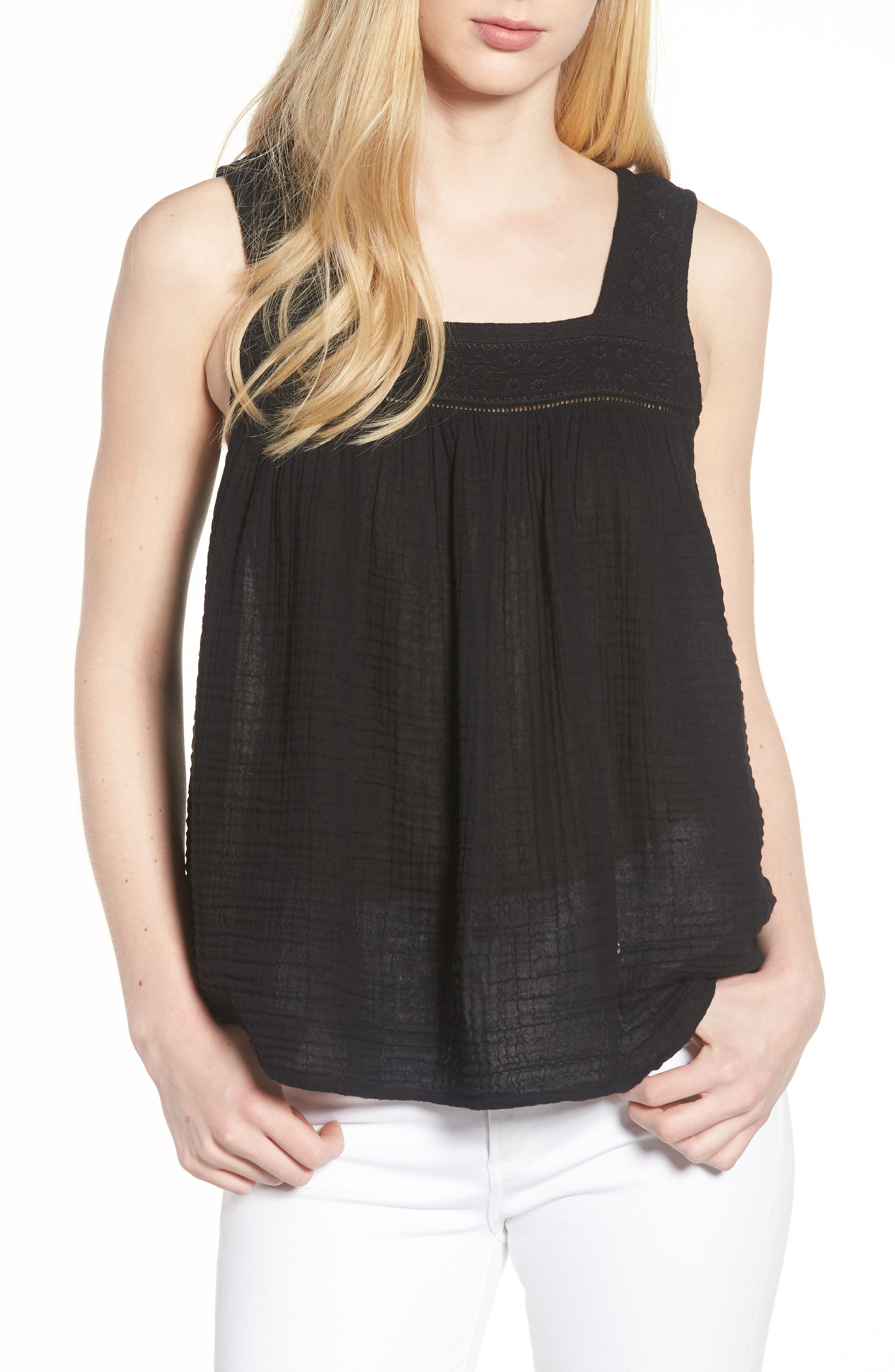 Embroidered Neck Swing Tank,                             Main thumbnail 2, color,