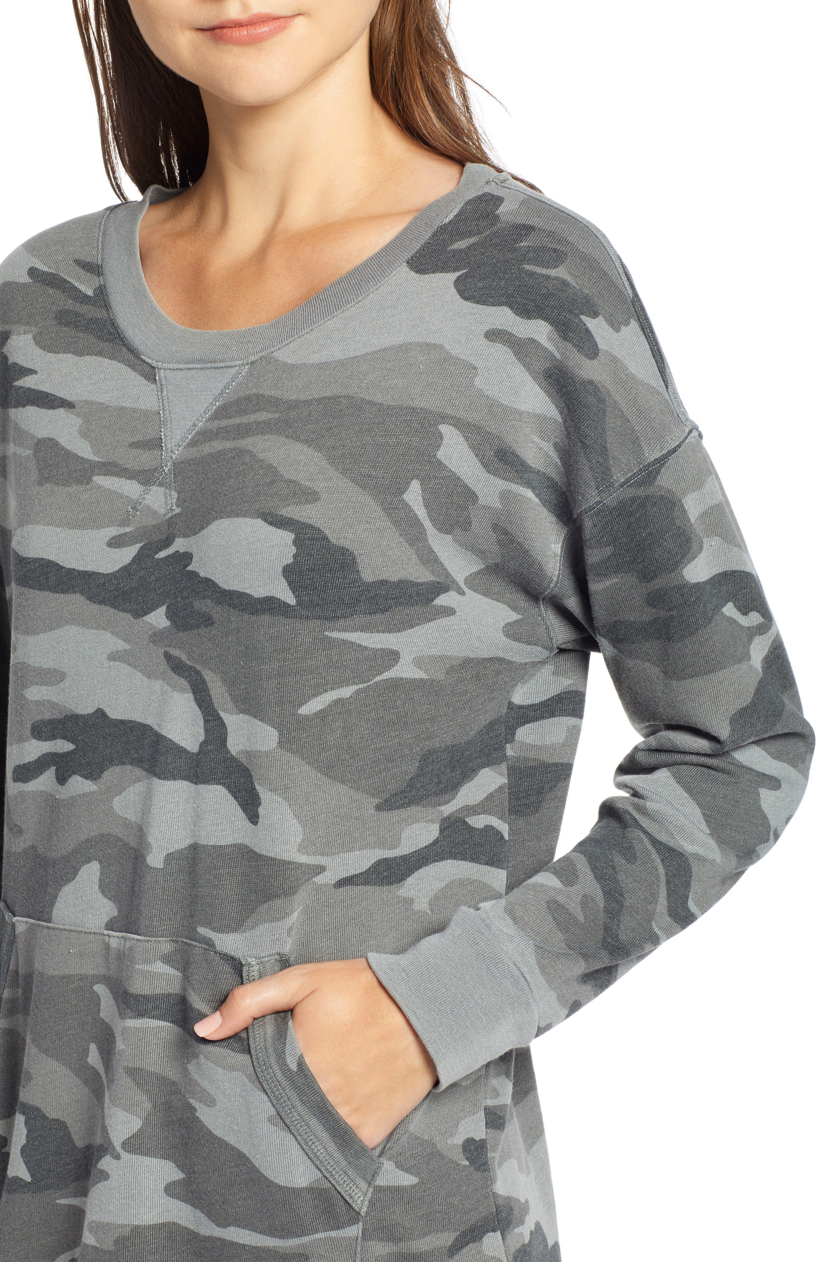 Active Camo Sweatshirt Dress,                             Alternate thumbnail 4, color,                             OLIVE BRANCH