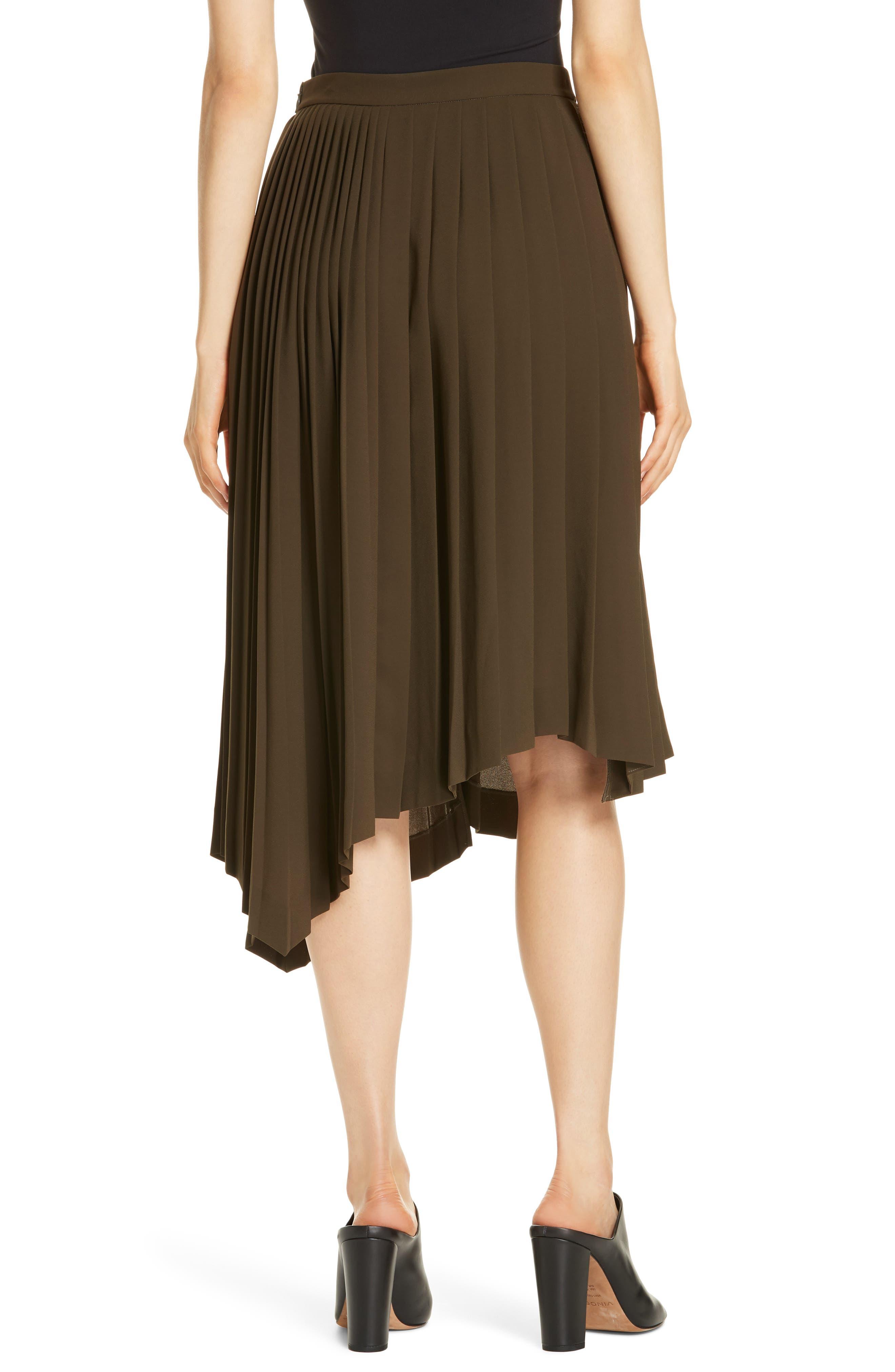 Asymmetrical Pleat A-Line Skirt,                             Alternate thumbnail 2, color,                             OLIVE TUSCAN