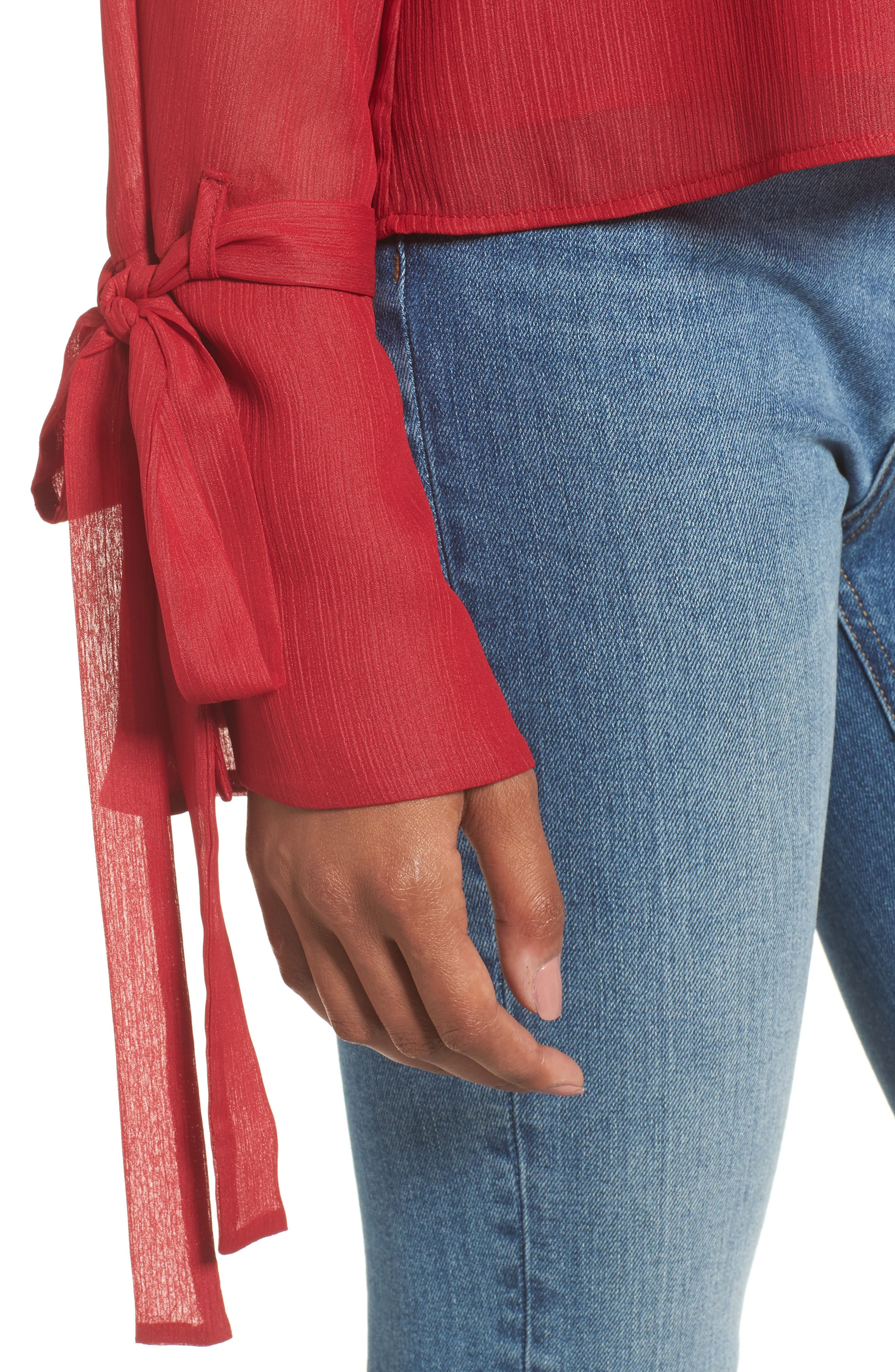 Ruffle One-Shoulder Blouse,                             Alternate thumbnail 8, color,