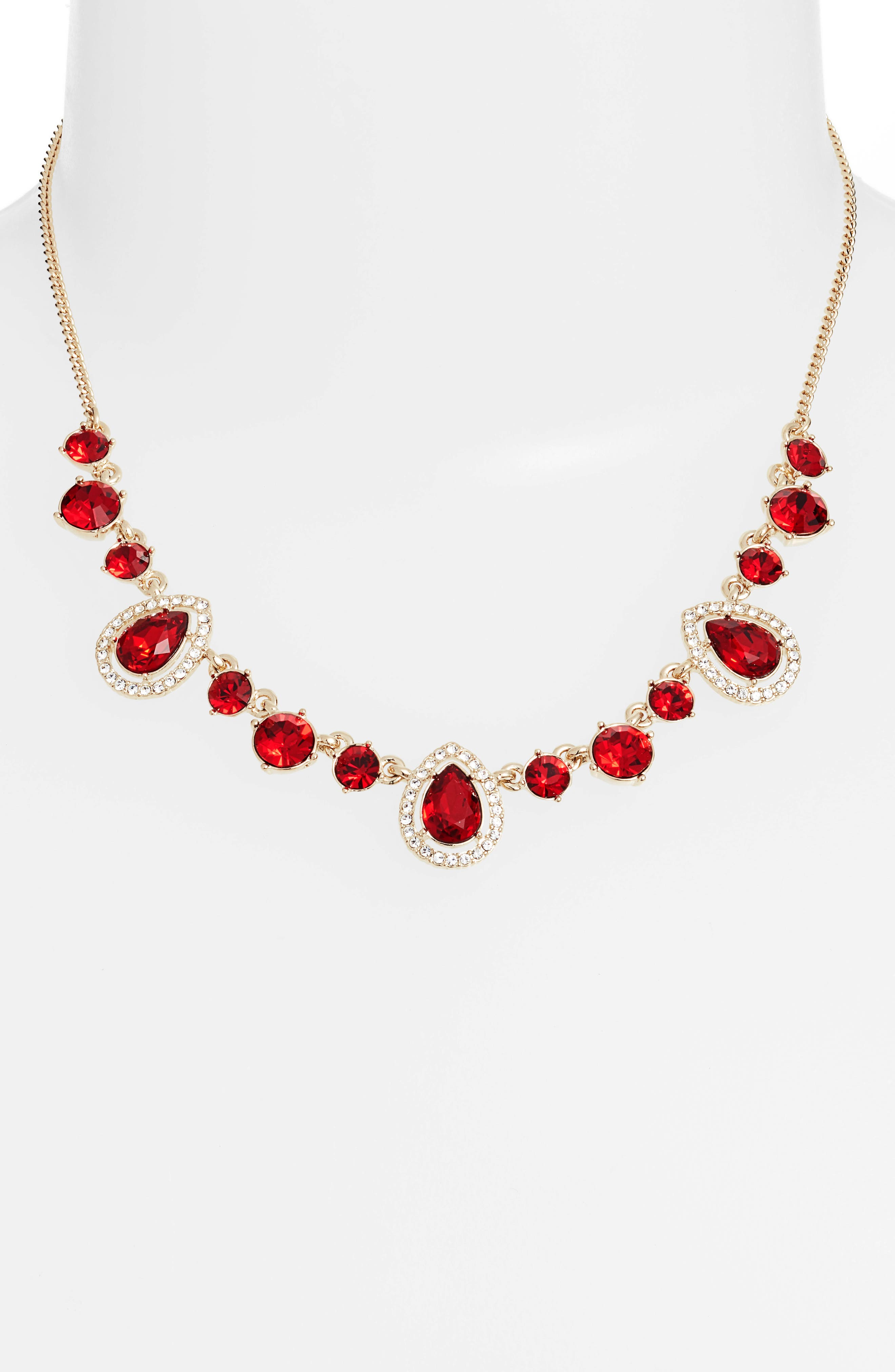 Teardrop Crystal Frontal Necklace,                             Alternate thumbnail 2, color,                             RED/ GOLD