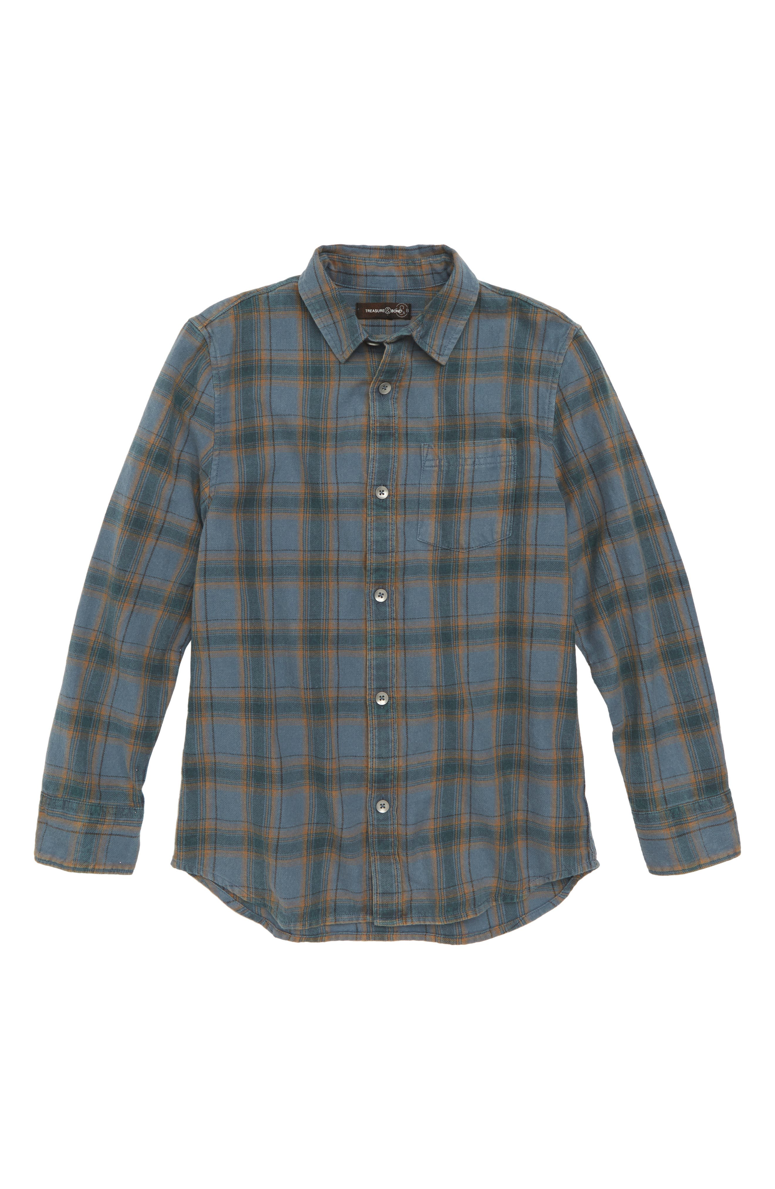 Washed Out Flannel Shirt,                         Main,                         color, BLUE CHINOISE/ BROWN PLAID