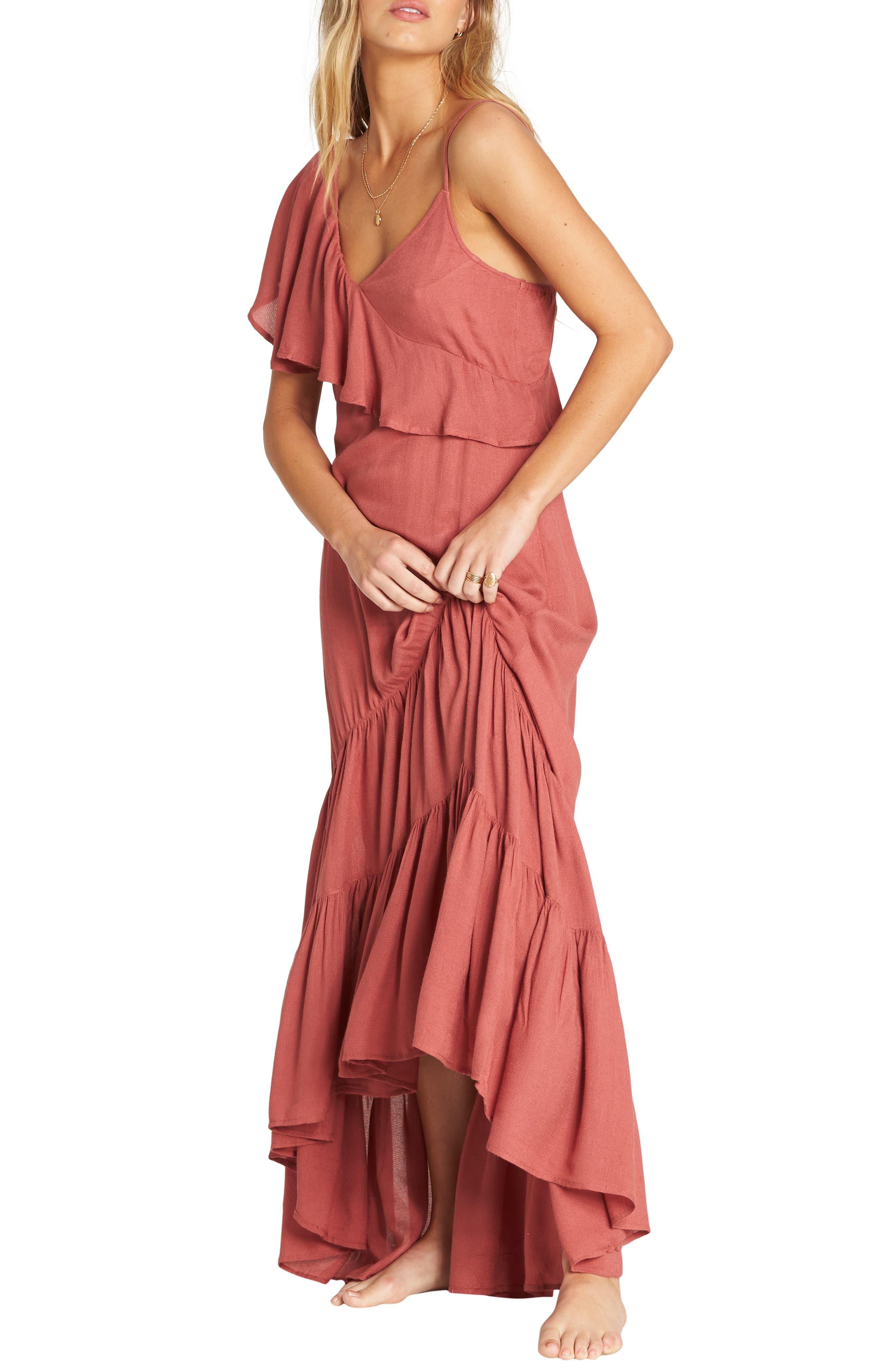 Billabong Kiss To Tell One-Shoulder Maxi Dress, Coral