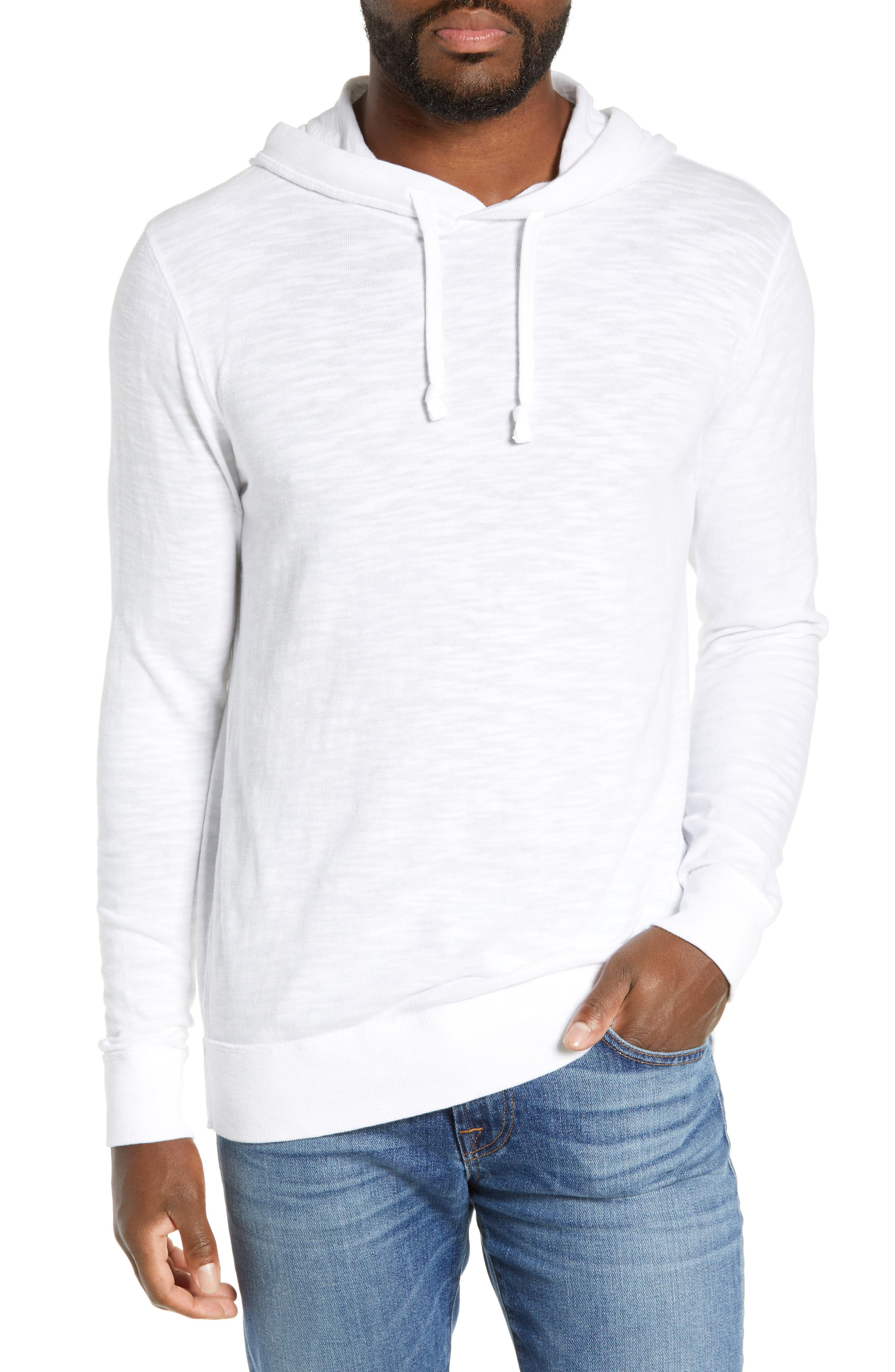 Faherty Slubbed Cotton Hooded Pullover, White