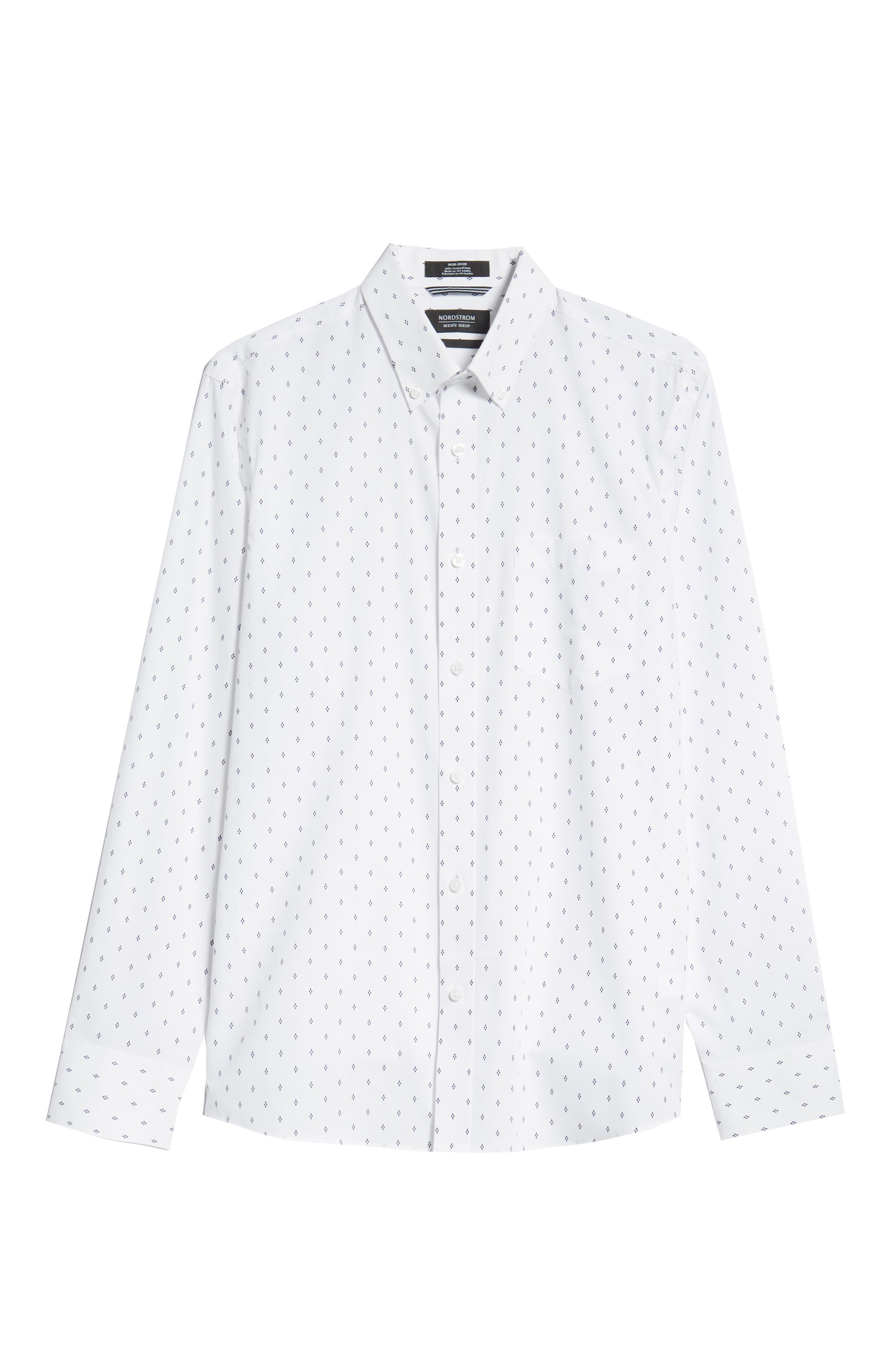 Slim Fit Non-Iron Print Sport Shirt,                             Alternate thumbnail 6, color,                             WHITE NAVY IRIS DIAMOND