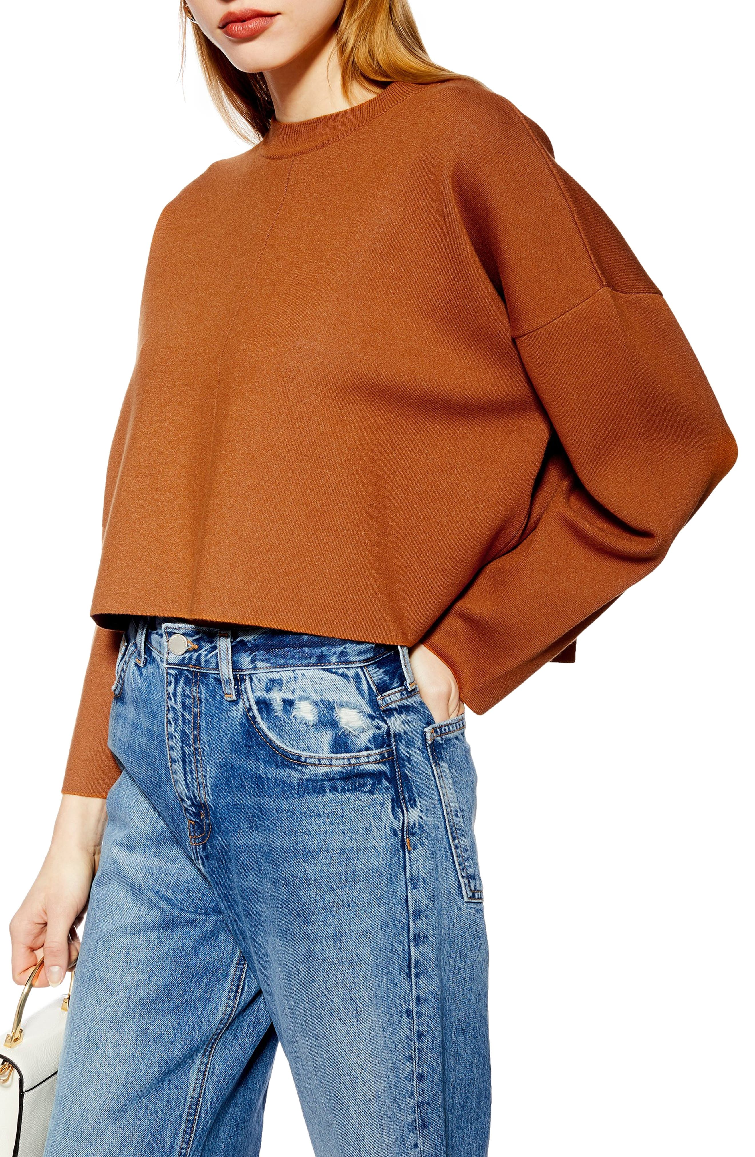 Bonded Boxy Cropped Sweater by Topshop