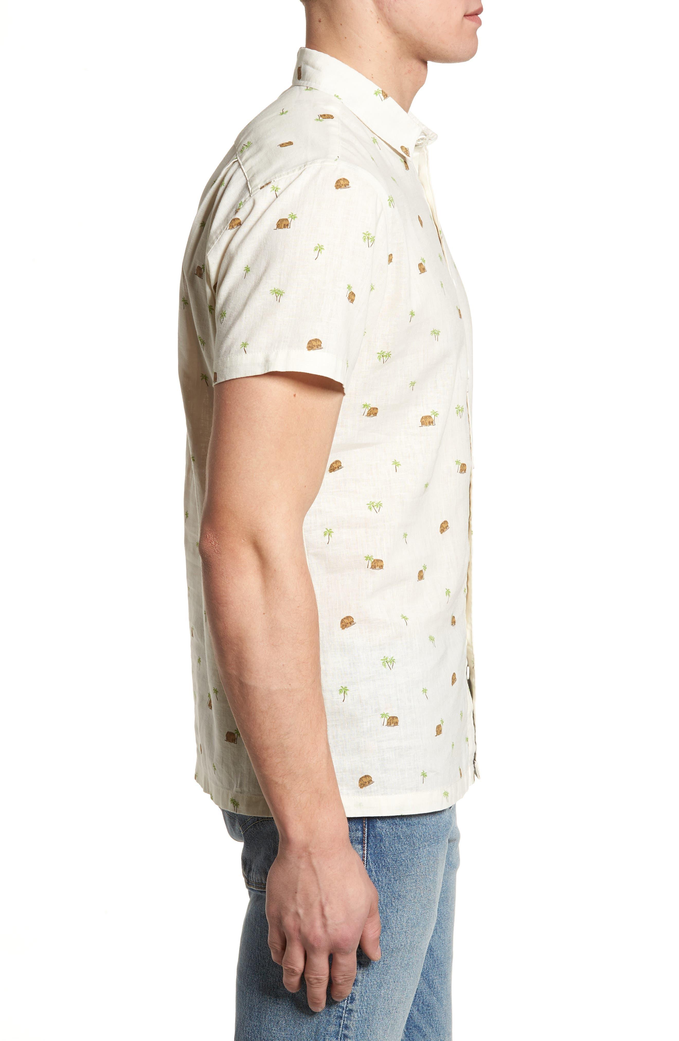 Hale Niu Trim Fit Linen Blend Camp Shirt,                             Alternate thumbnail 3, color,                             102