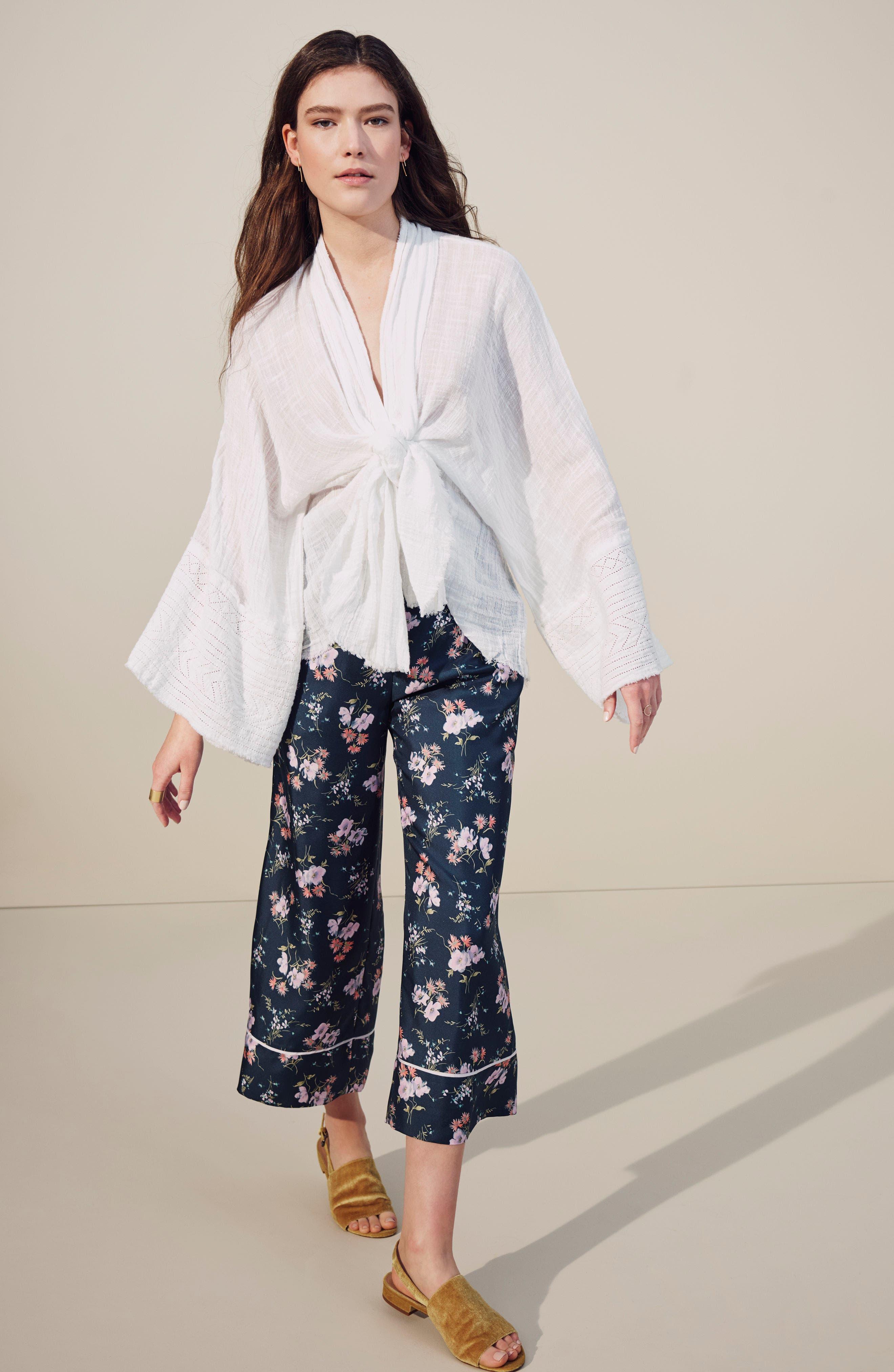 Tie Wrap Kimono,                             Alternate thumbnail 7, color,                             BLACK
