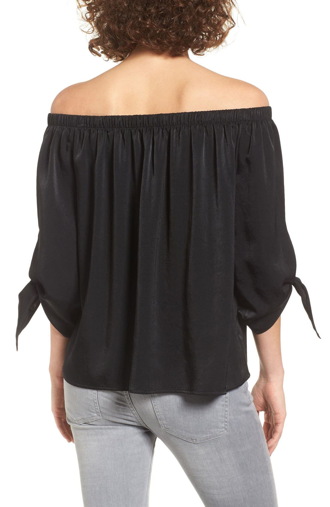 Tie Sleeve Off the Shoulder Top,                             Alternate thumbnail 2, color,                             001