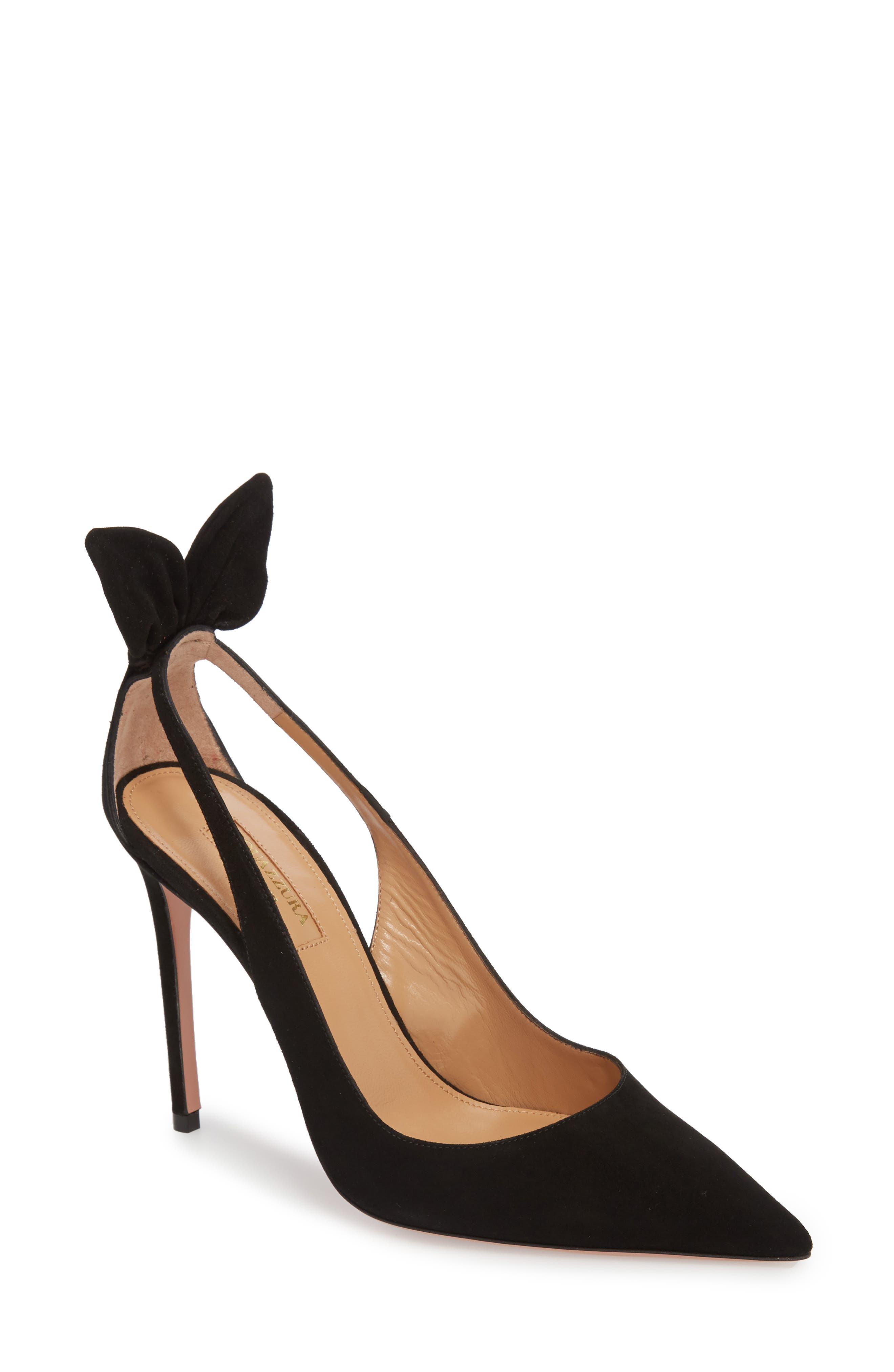 Deneuve Bow Pointy Toe Pump,                             Main thumbnail 1, color,                             BLACK