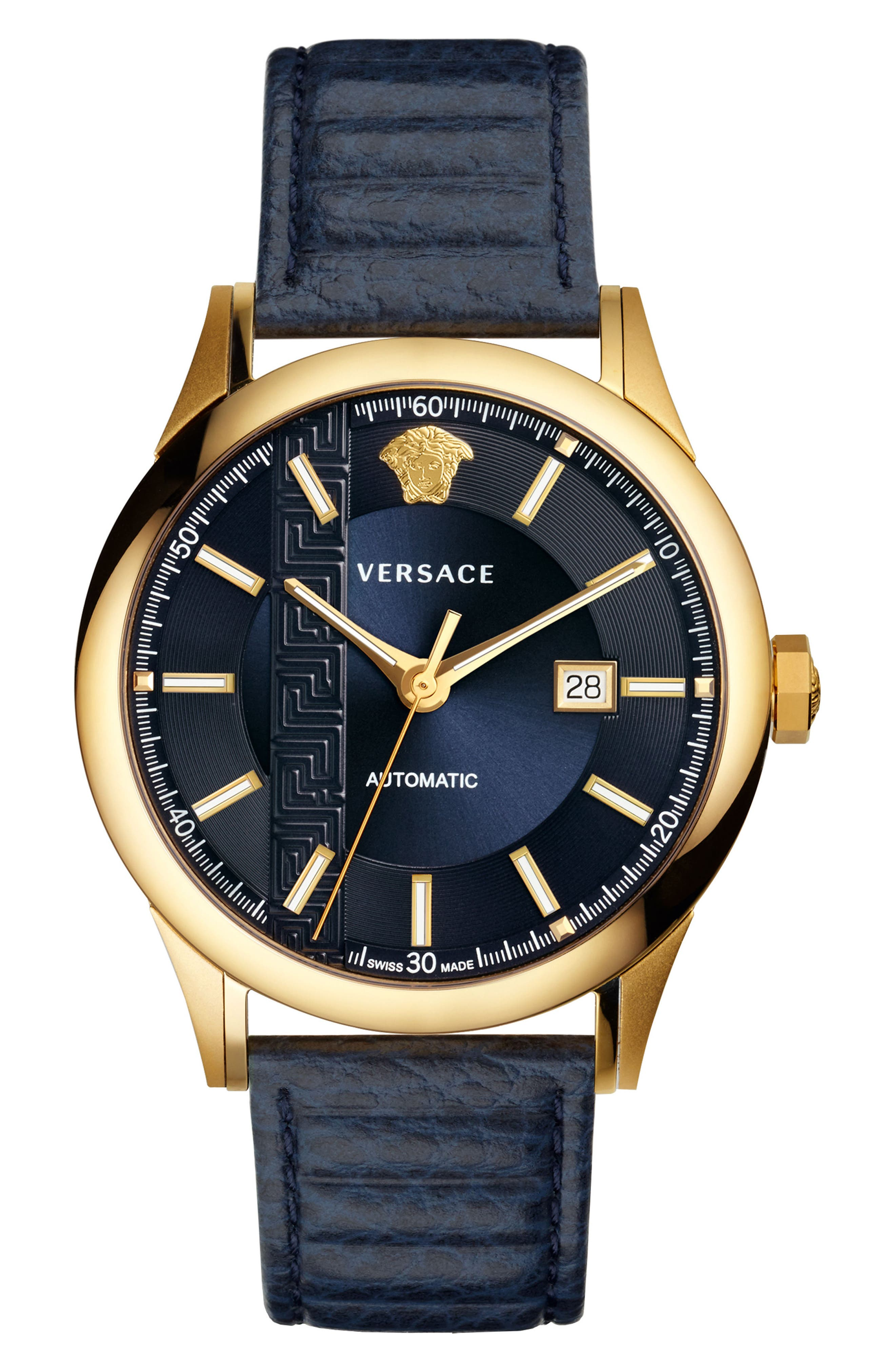 Aiakos Automatic Leather Strap Watch, 44mm,                         Main,                         color, BLUE/ GOLD