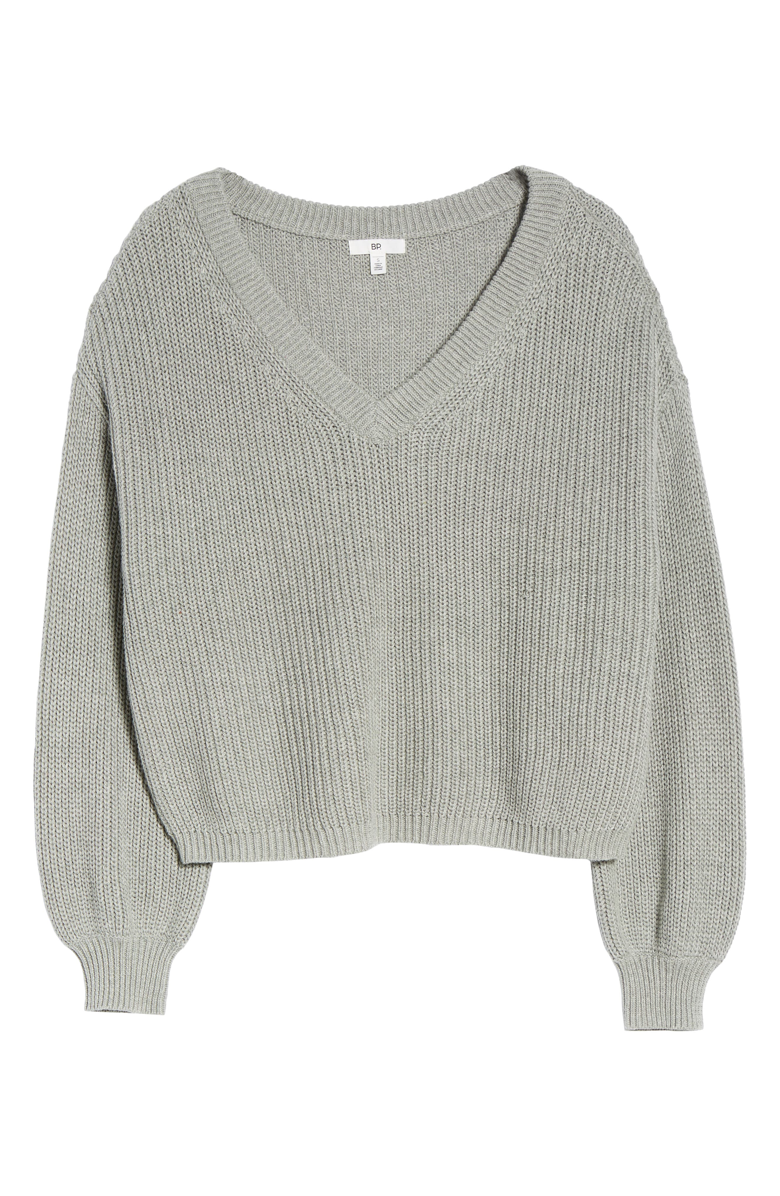 V Neck Cotton Sweater,                             Alternate thumbnail 6, color,                             030
