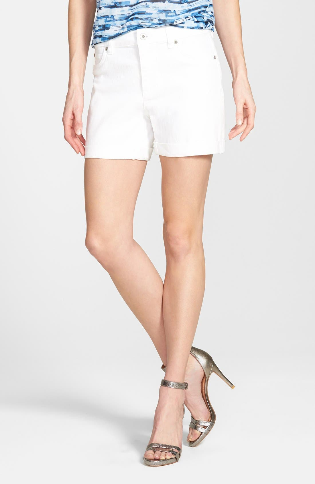 Two by Vince Camuto Five Pocket Denim Shorts,                             Main thumbnail 1, color,                             ULTRA WHITE