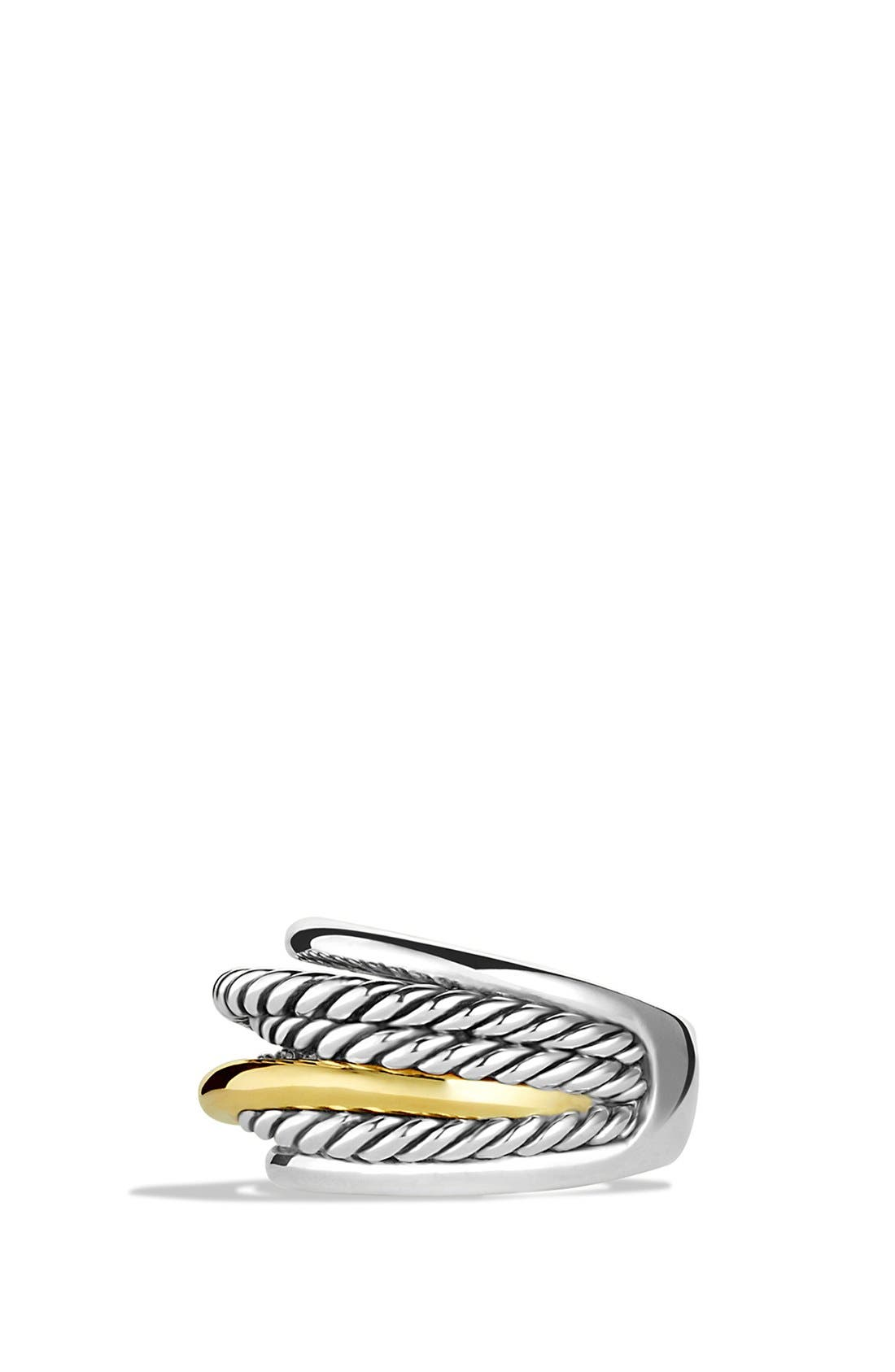 'Crossover' Narrow Ring with Gold,                             Alternate thumbnail 3, color,                             STERLING SILVER/ 14K GOLD