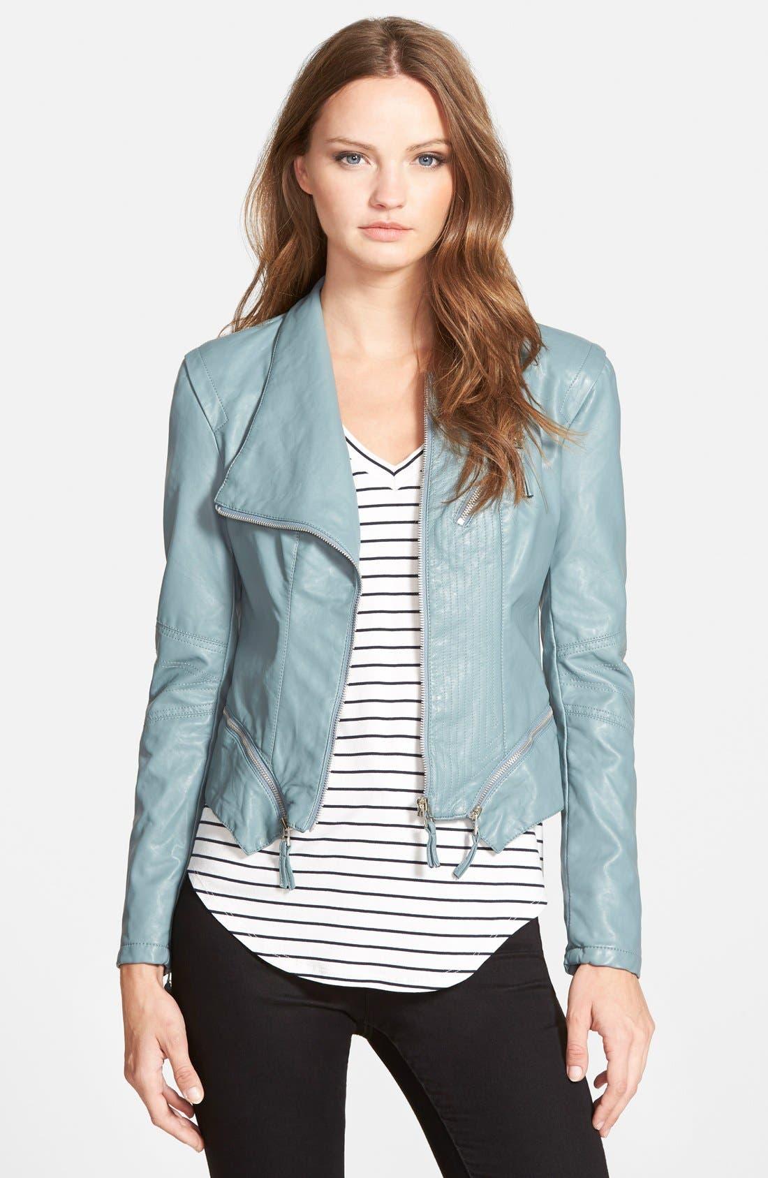 Faux Leather Jacket,                             Main thumbnail 8, color,
