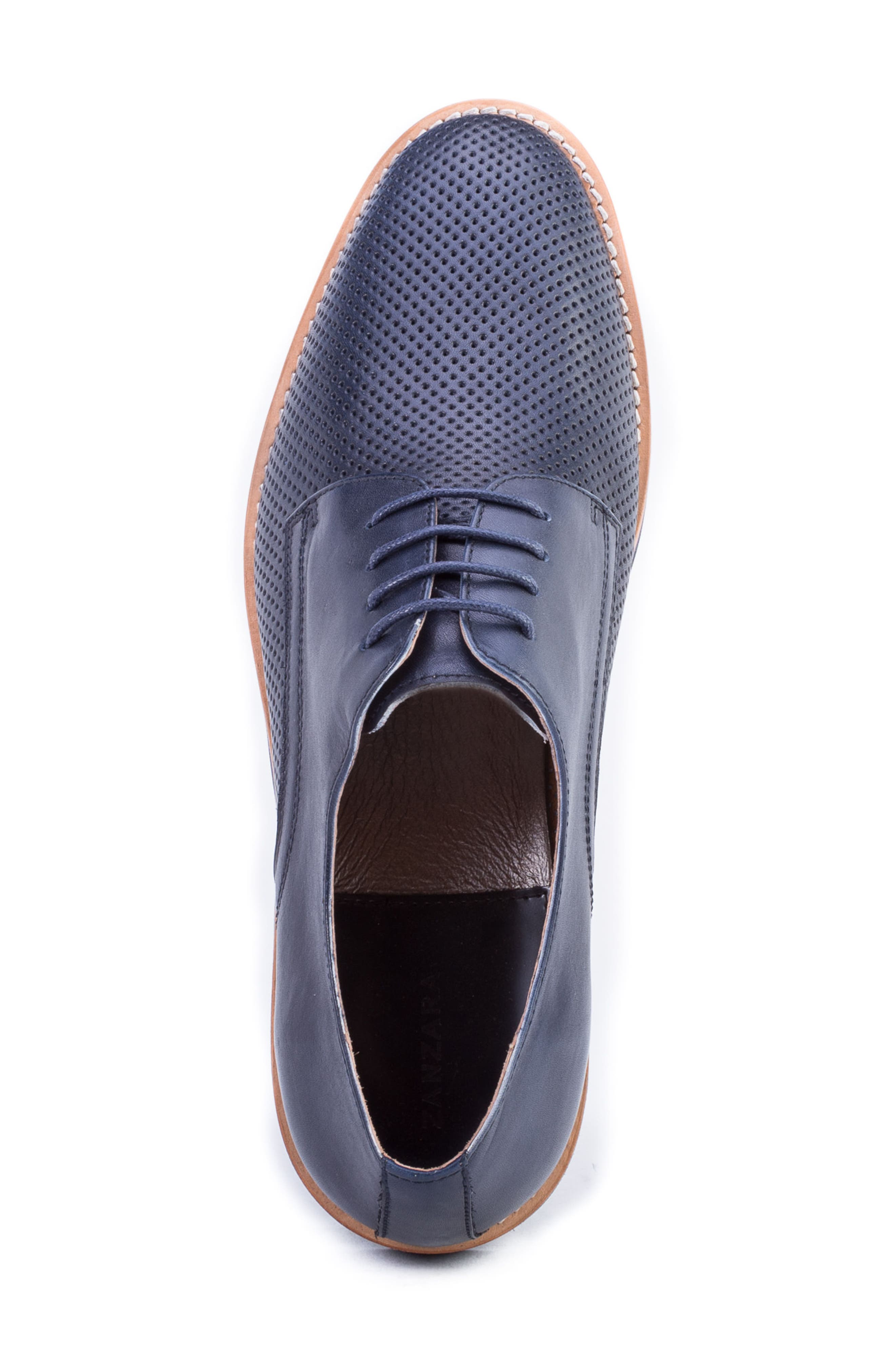 Hartung Perforated Plain Toe Derby,                             Alternate thumbnail 4, color,                             NAVY LEATHER