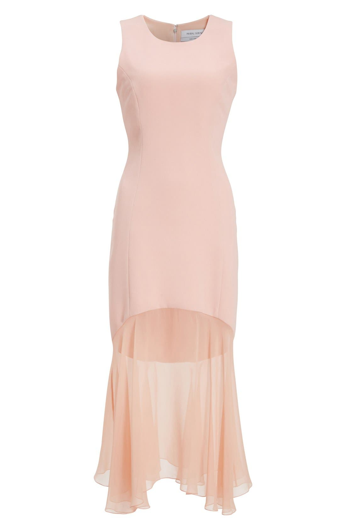 Sheer Hem Crepe Dress,                             Alternate thumbnail 4, color,                             650