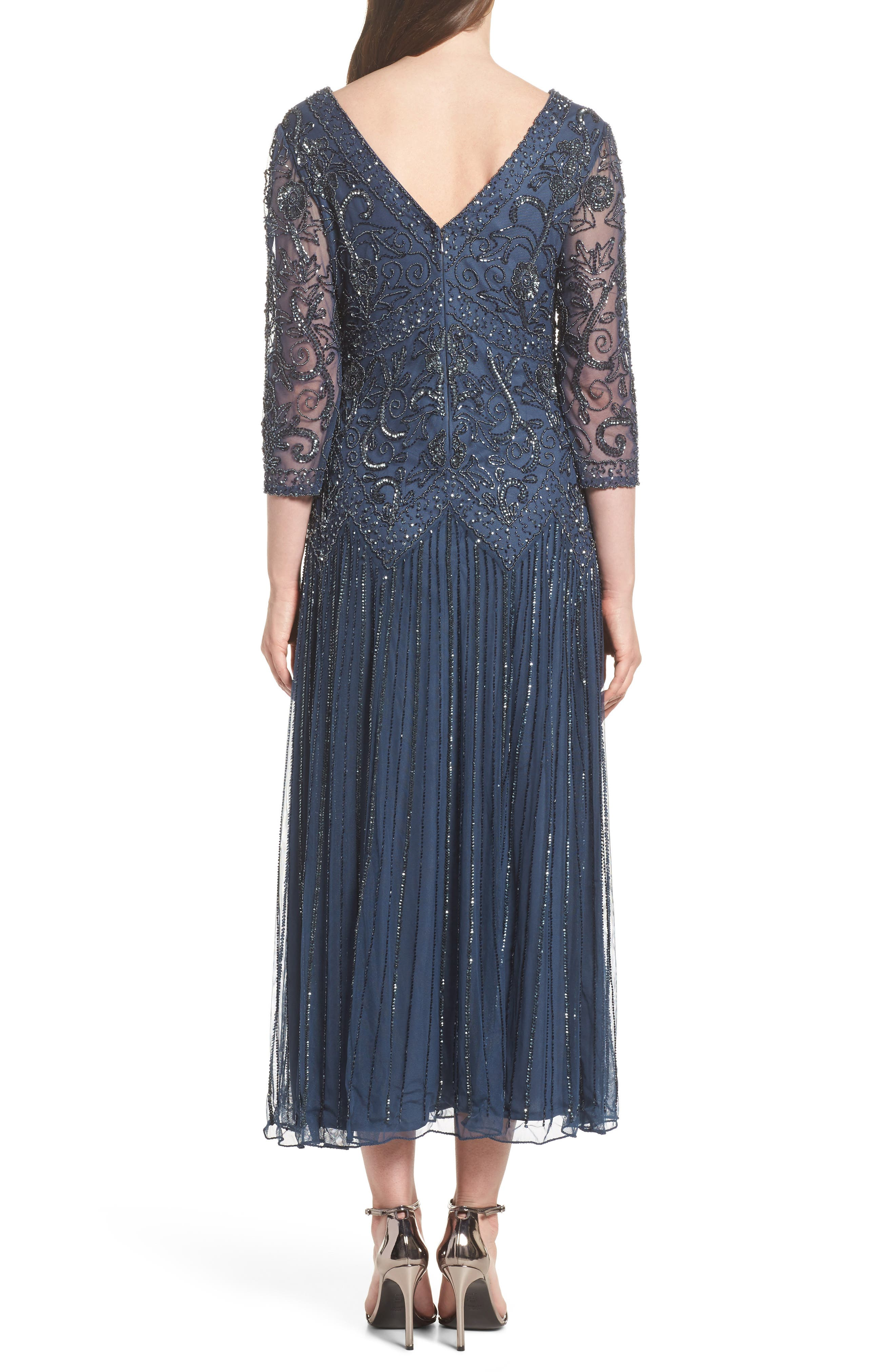 Beaded Mesh Tea Length Dress,                             Alternate thumbnail 2, color,                             450