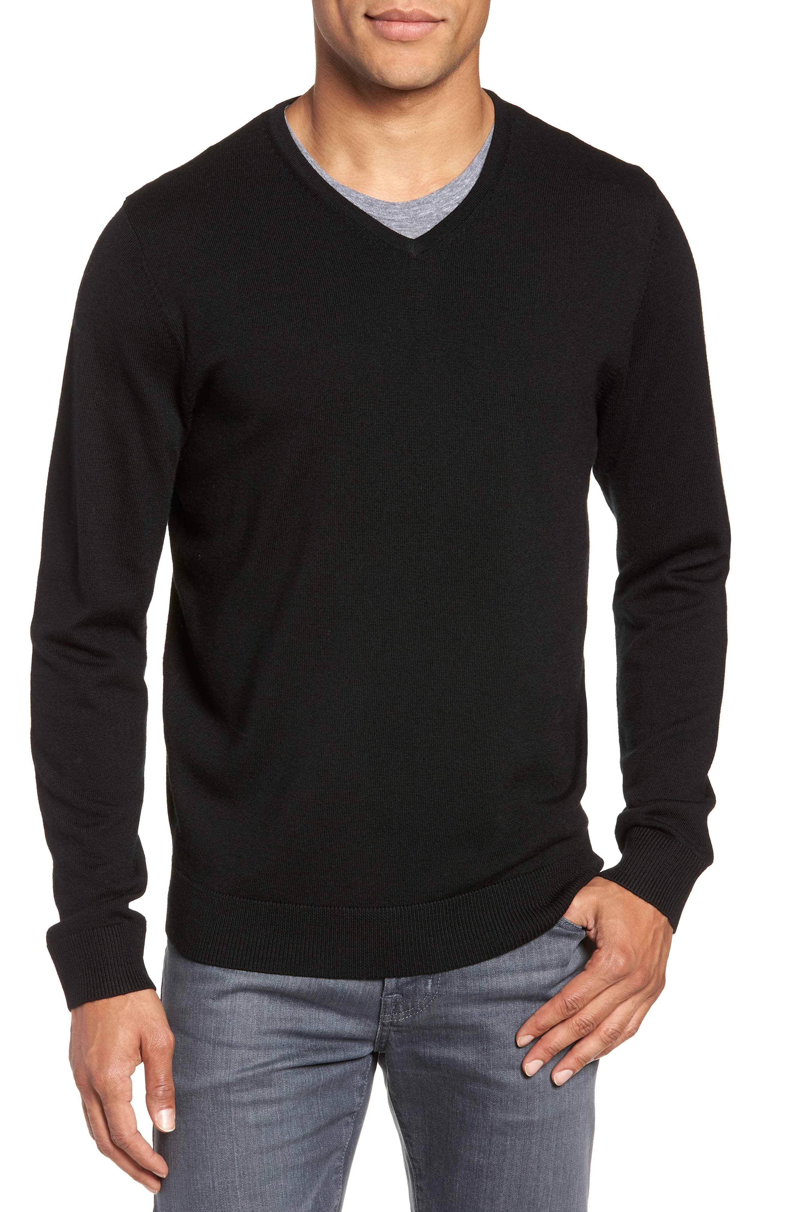 Regular Fit Merino Wool V-Neck Sweater,                         Main,                         color, BLACK CAVIAR