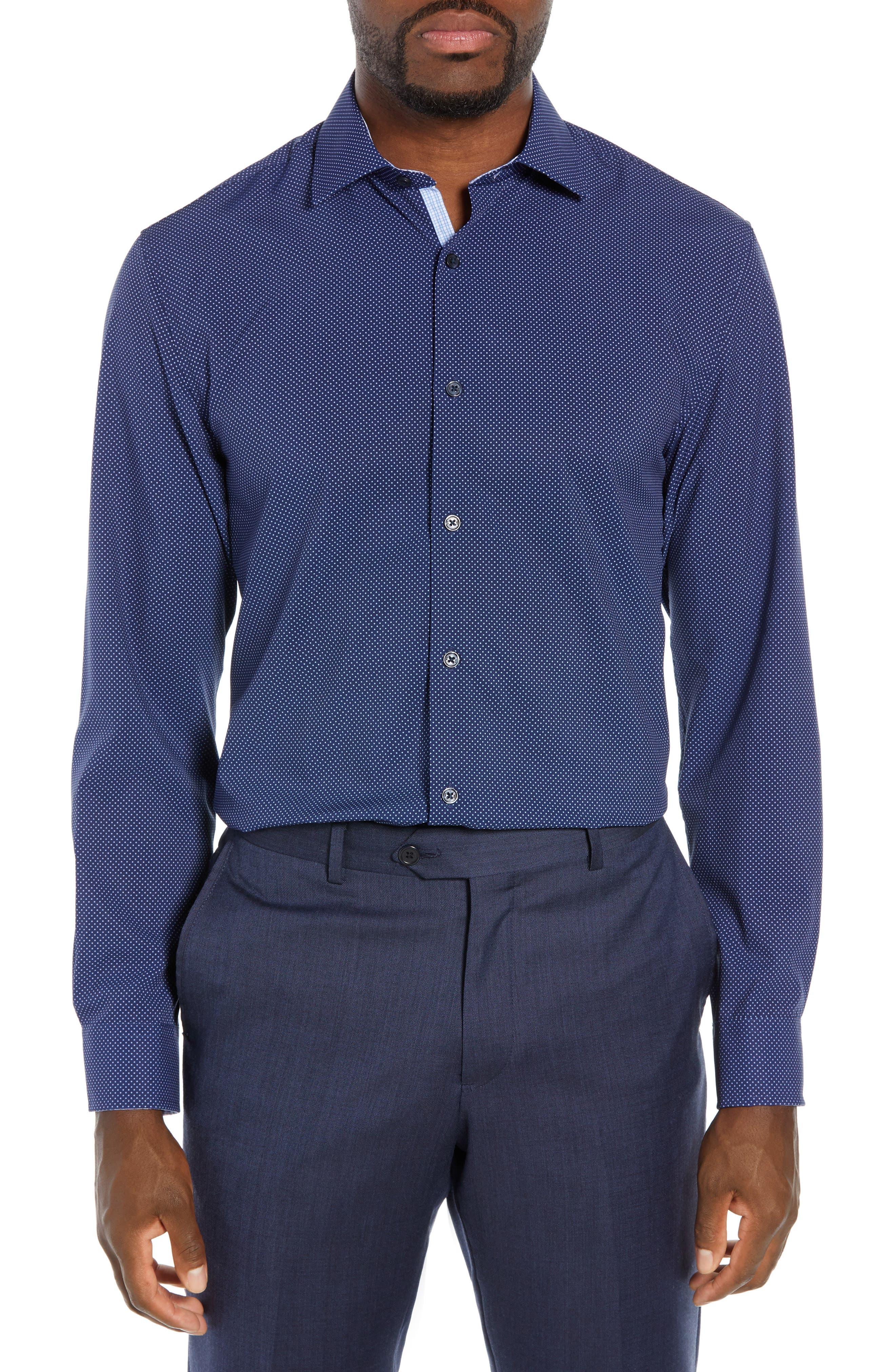 Trim Fit Stretch Dot Dress Shirt, Main, color, NAVY