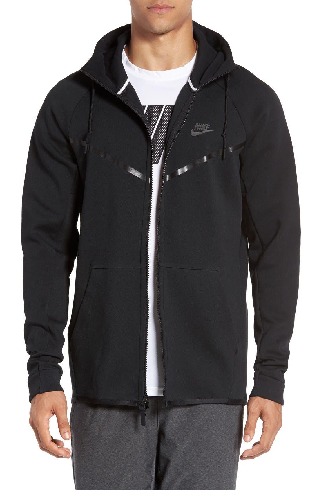 'Windrunner' Tech Fleece Hoodie,                         Main,                         color, BLACK/ BLACK